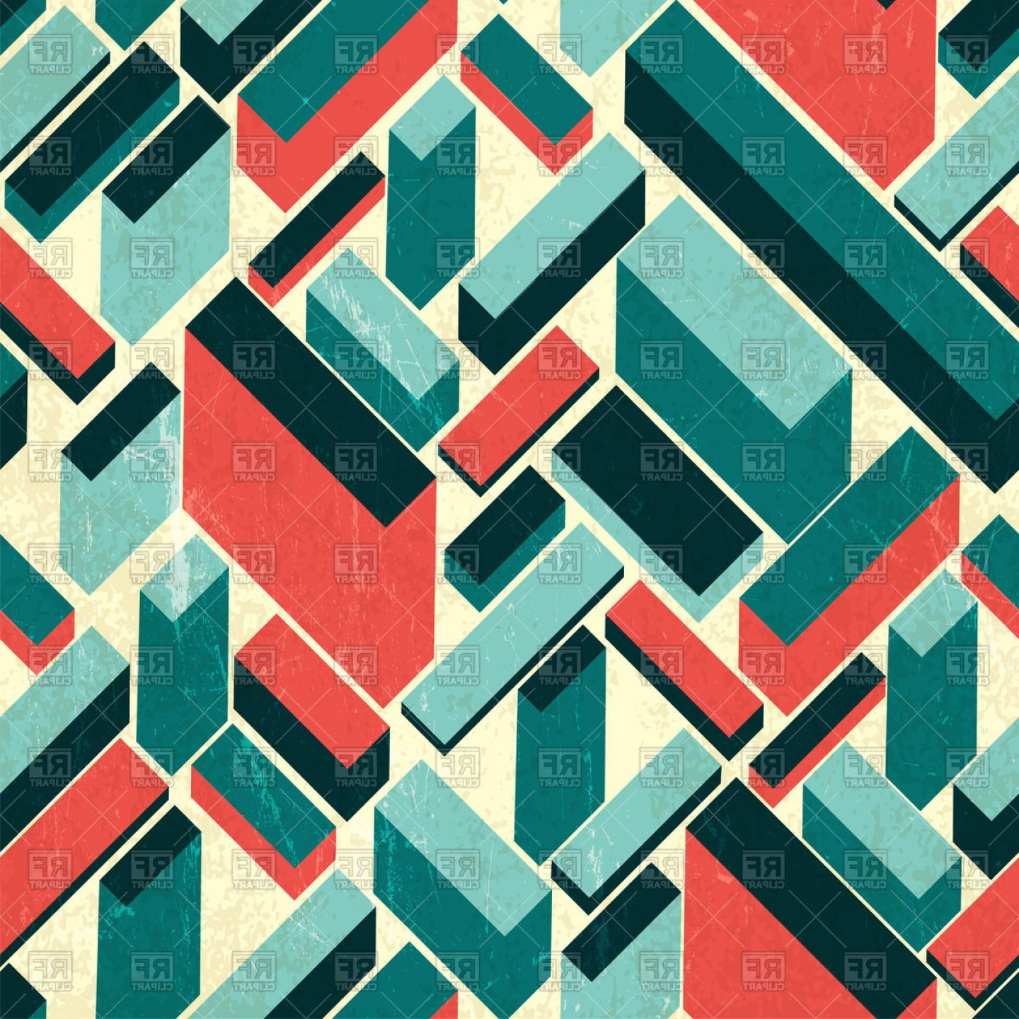 Geometric Vector B2: Seamless Retro Background With Geometric Shapes Vector Clipart