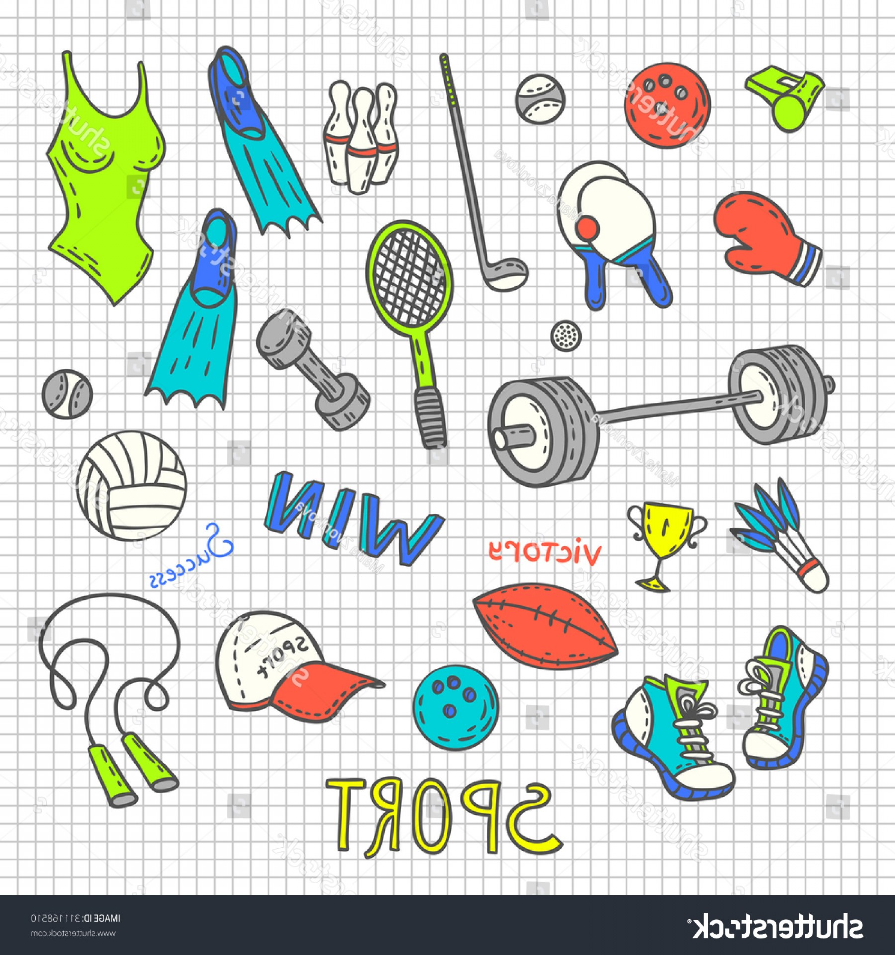 Active Border Vector: Seamless Sport Equipment Pattern Background Active