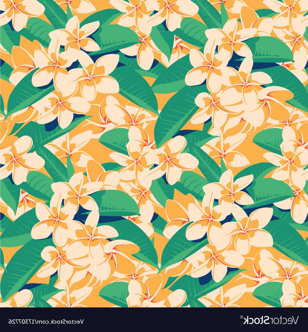 Hawaiian Pattern Vector: Seamless Summer Hawaiian Tropical Pattern With Vector