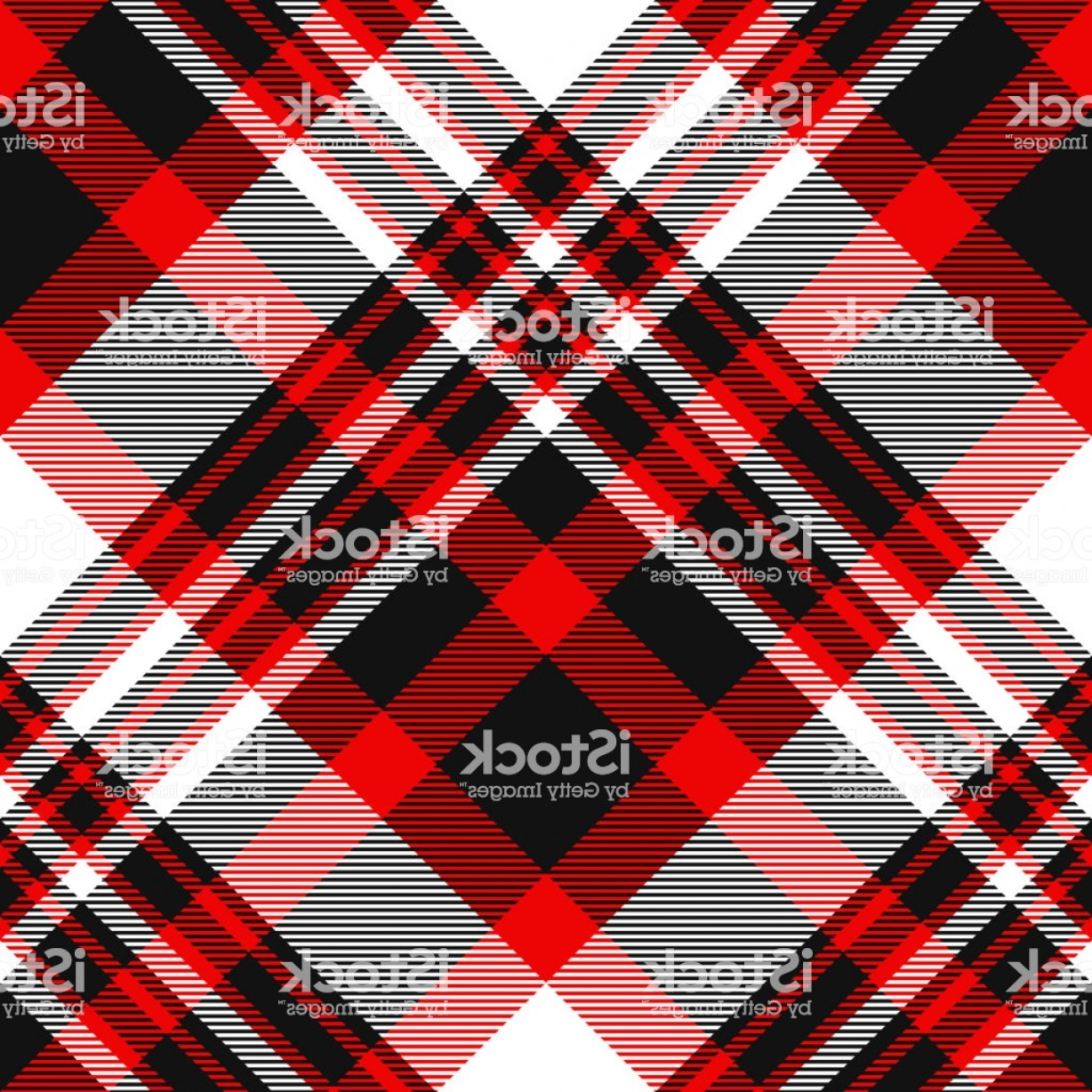 Red Black And White Vector Art: Seamless Tartan Plaid Pattern In Red Black And White Gm