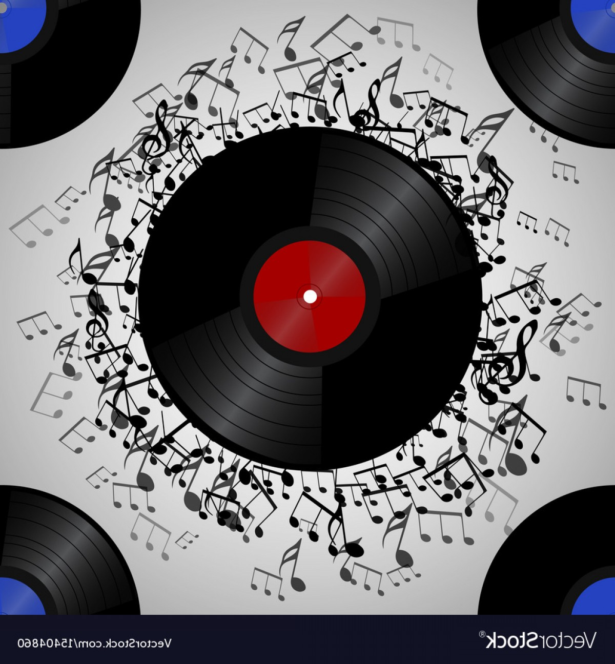 Vinyl Roll Vector: Seamless Texture With A Vinyl Record And Music Vector