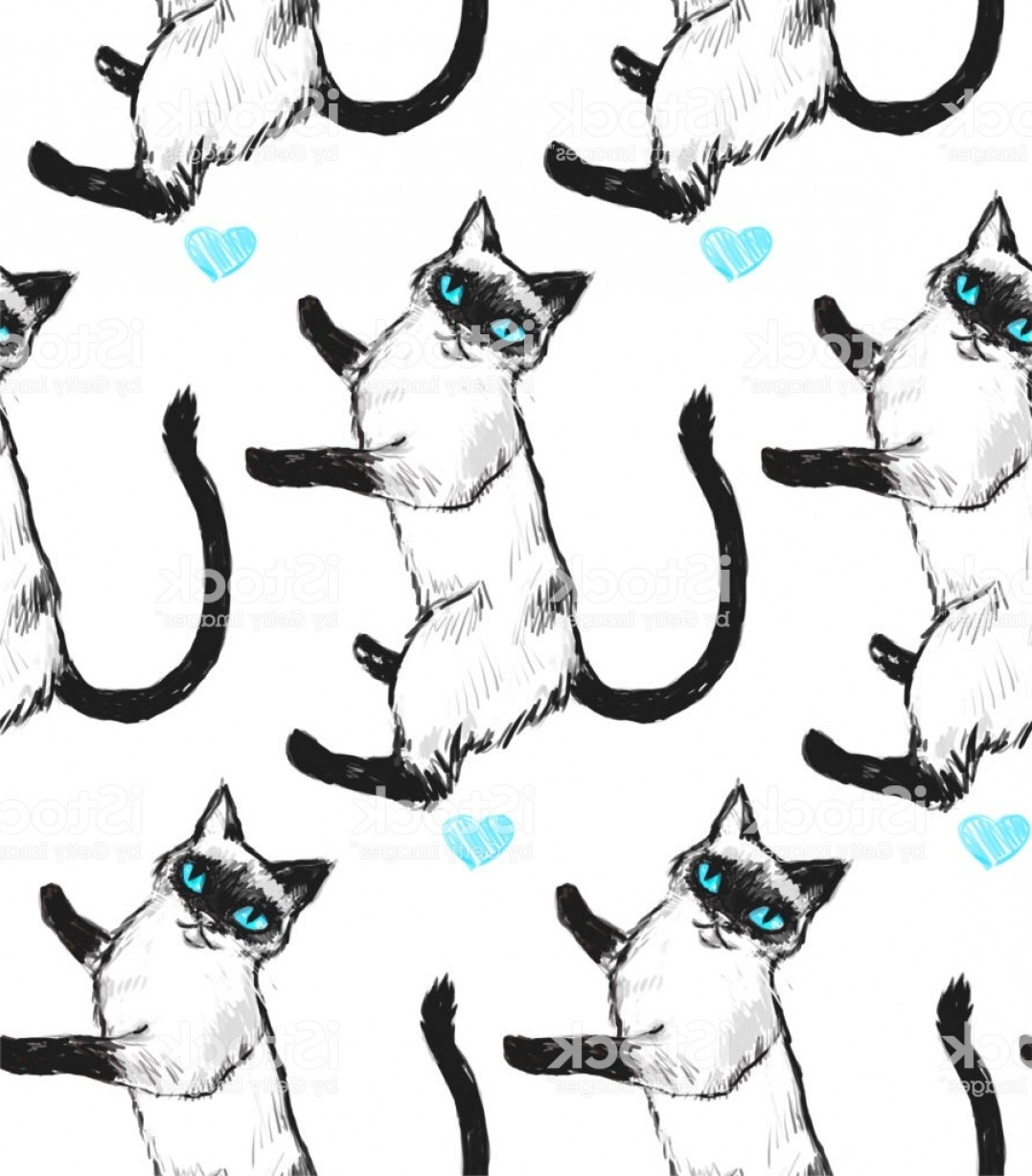 Siamese Cat Vector Transparent Background: Seamless Texture With Nice Siamese Cat With Blue Eyes Repeating Background Can Be Gm