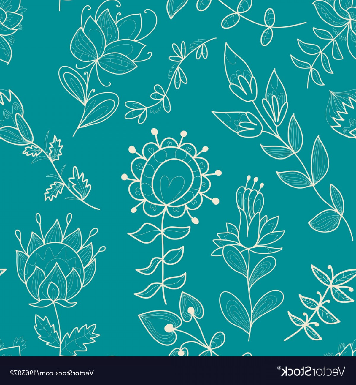 Turquoise Flower Vector: Seamless Turquoise Texture With Contour Flower Vector