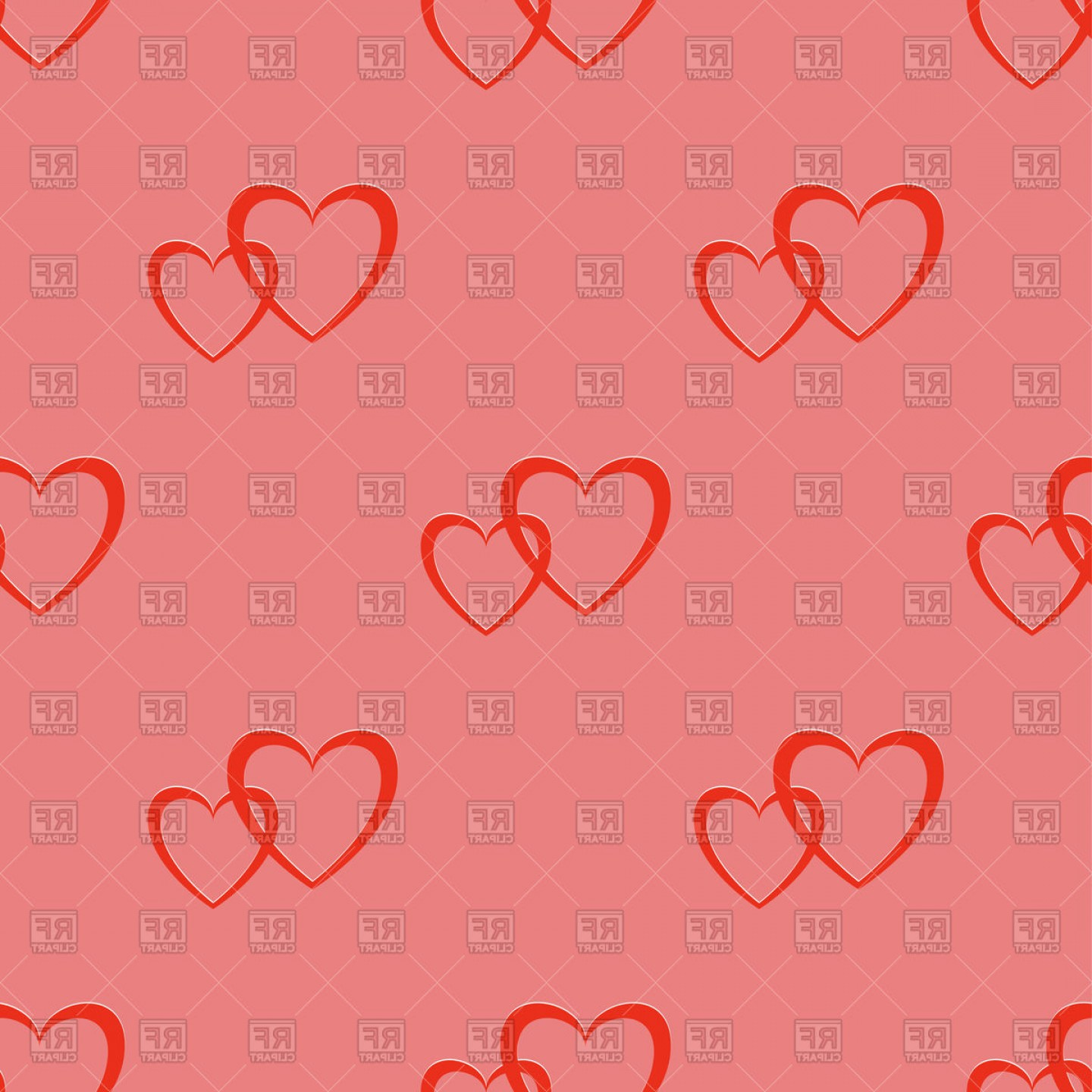 Cool Vector Hearts Pattern Symbol Pattern: Seamless Two Hearts Pattern Vector Clipart