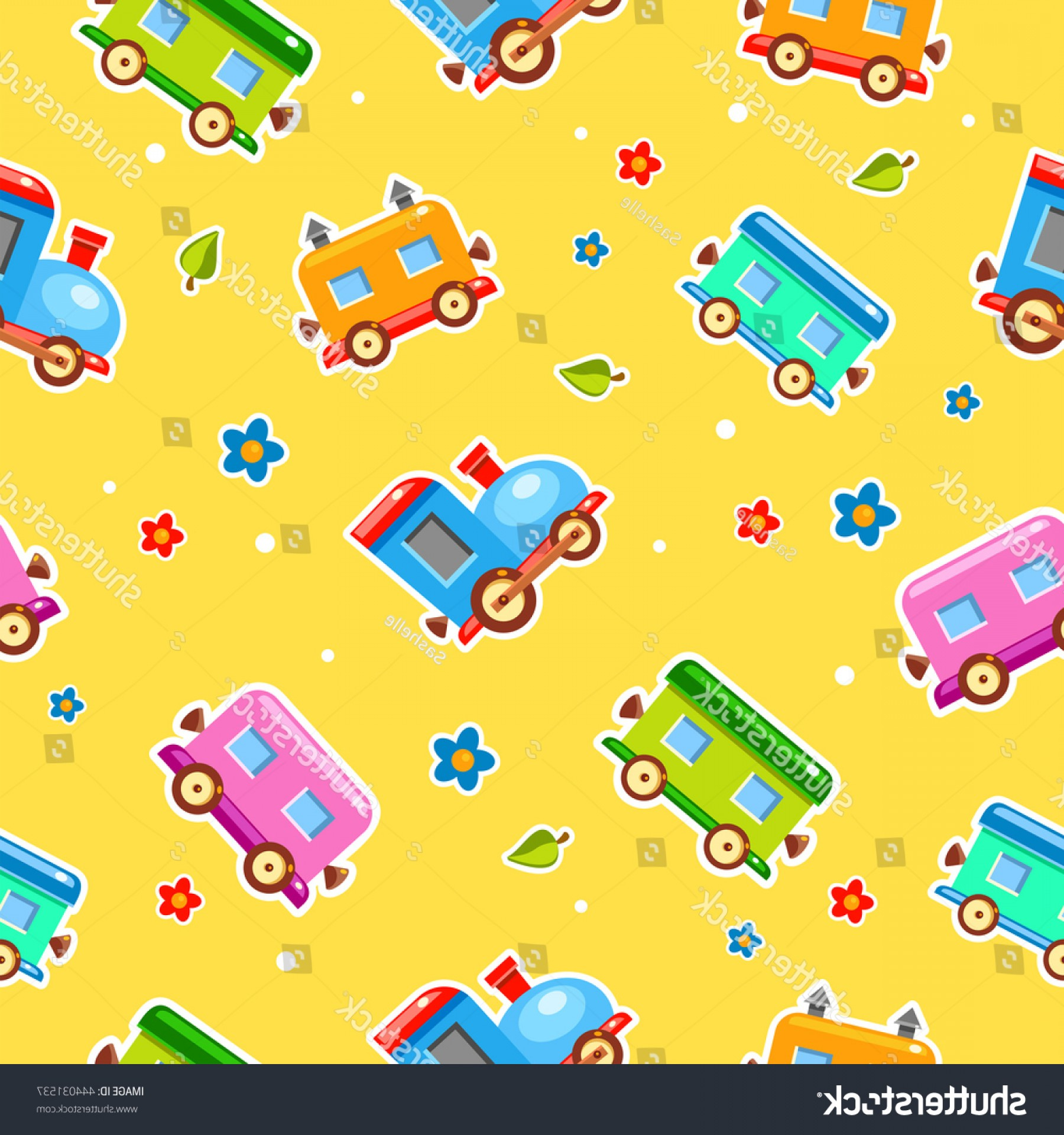 Vector Train Pattern: Seamless Vector Pattern Bright Baby Cartoon