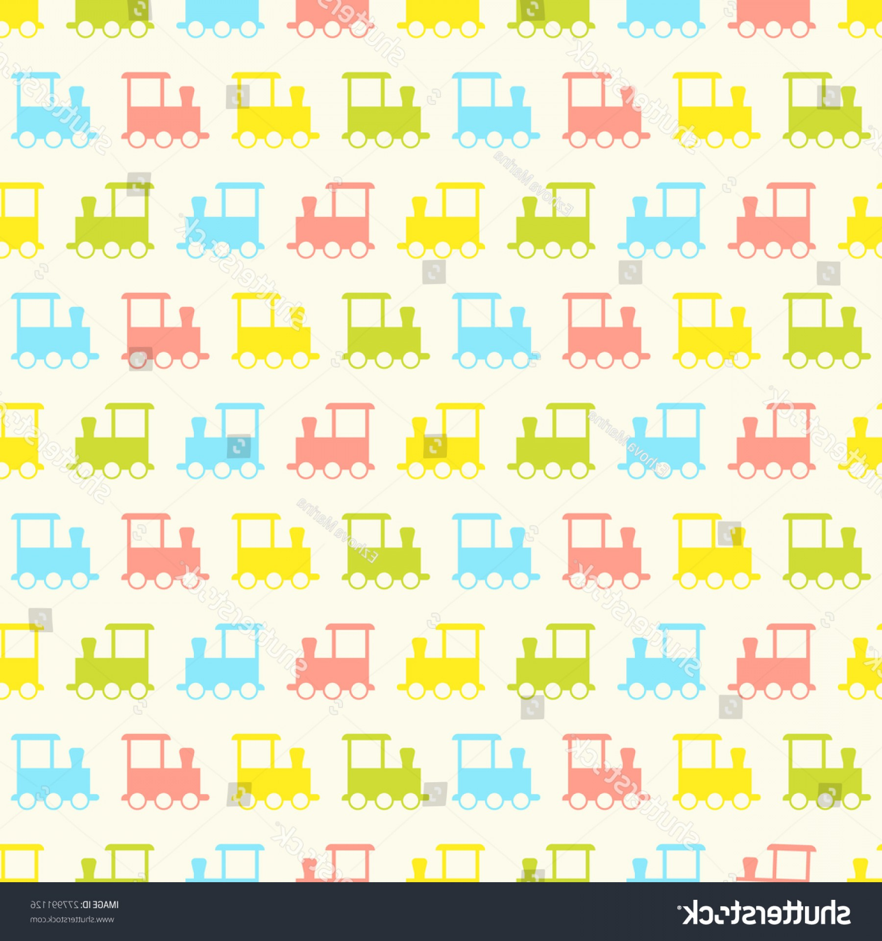 Vector Train Pattern: Seamless Vector Pattern Colorful Baby Train