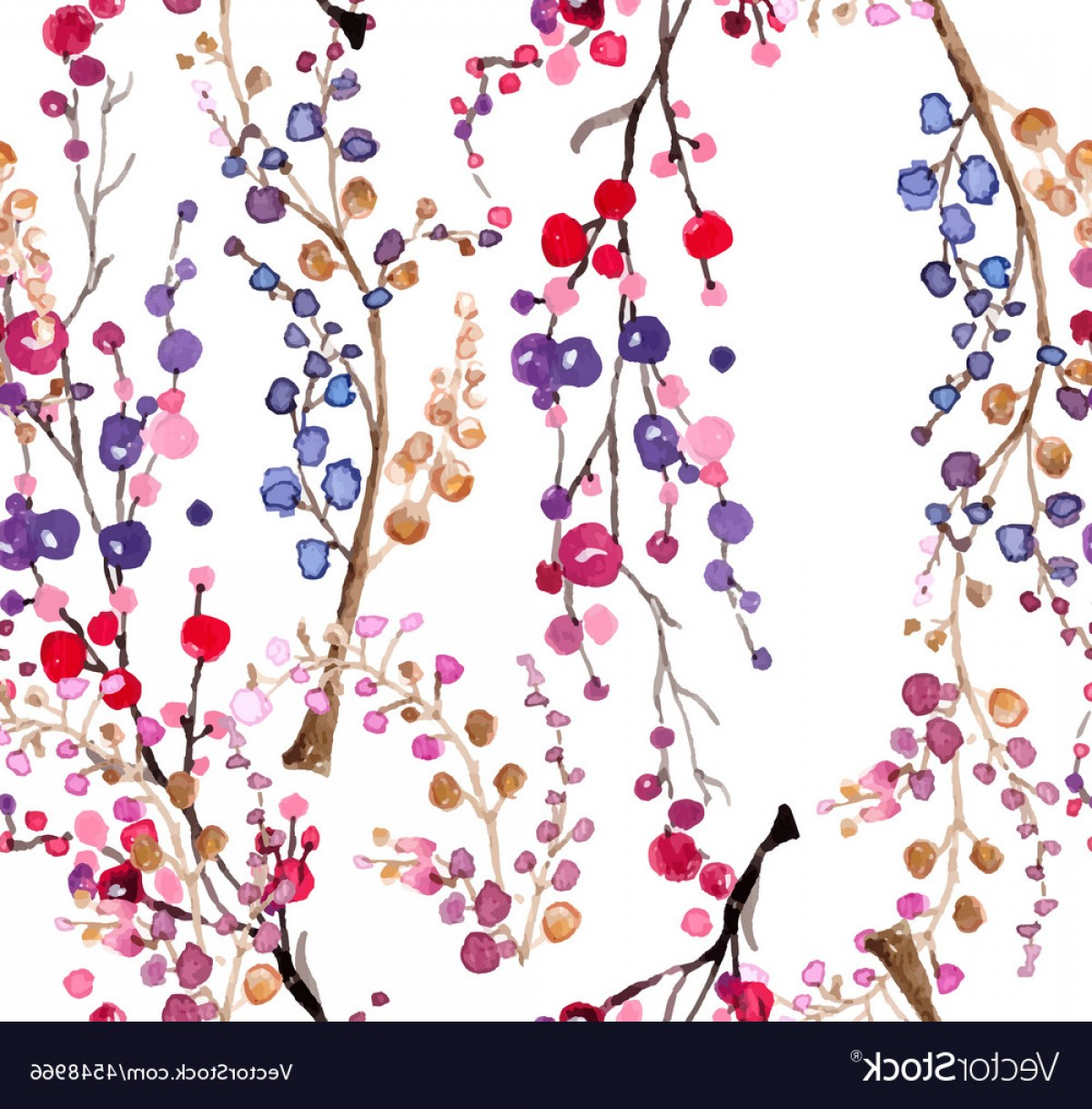 Watercolor Floral Background Vector: Seamless Watercolor Floral Background Vector