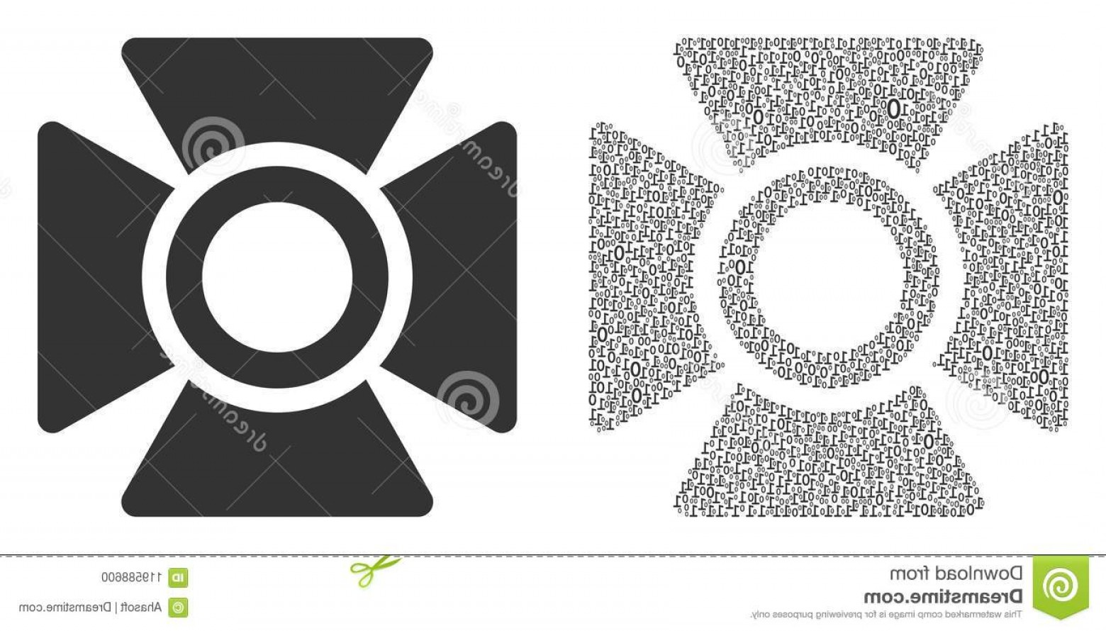 Null Vector Lighting: Searchlight Mosaic Icon Zero Null Digits Randomized Sizes Vector Digit Symbols Composed Searchlight Composition Image