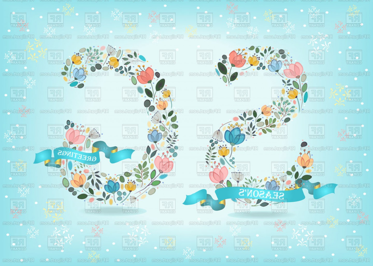 Season S Greetings Vector Free: Seasons Greetings Floral Letters S And G Vector Clipart