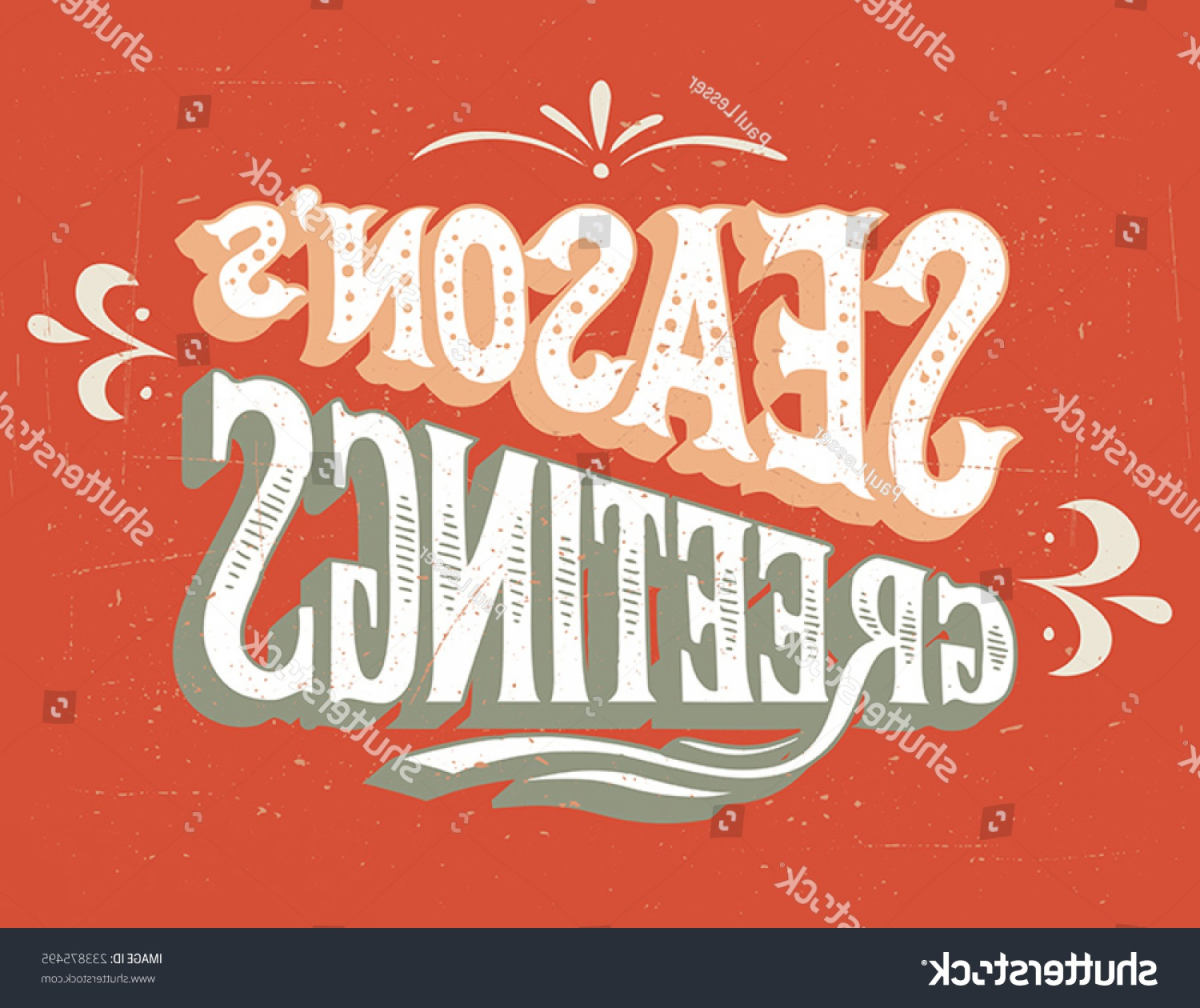 Season S Greetings Vector Free: Seasons Greetings Vintage Handlettering Retro Card