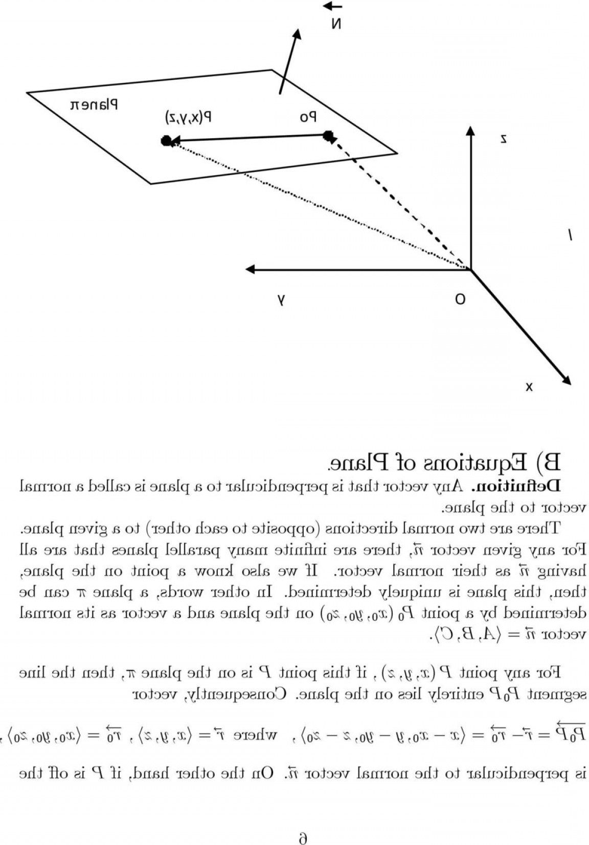 A Plane Normal Vector To: Section Equations Of Lines And Planes