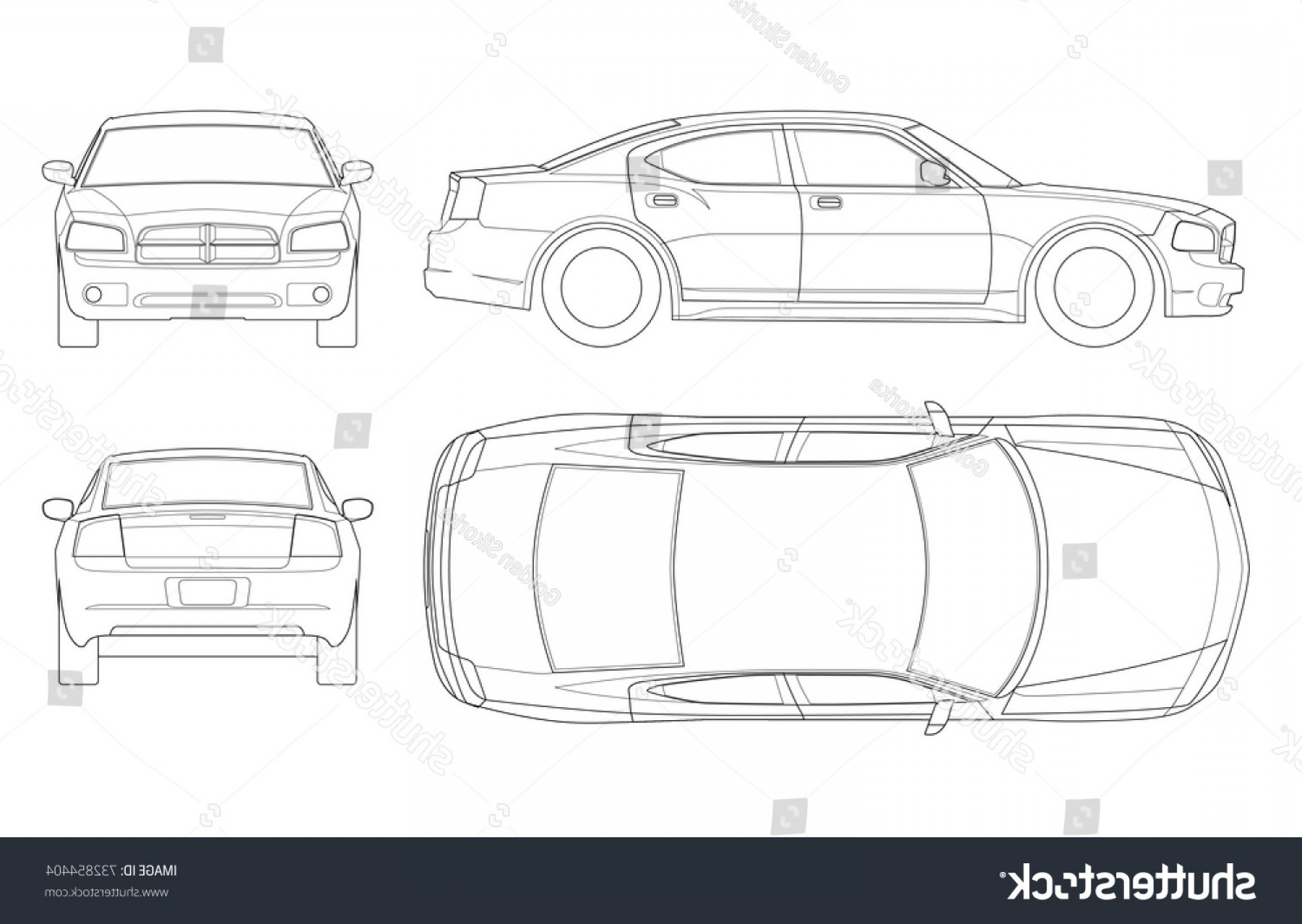 Car Vector Front Elevation: Sedan Car Outline Business Vehicle Template