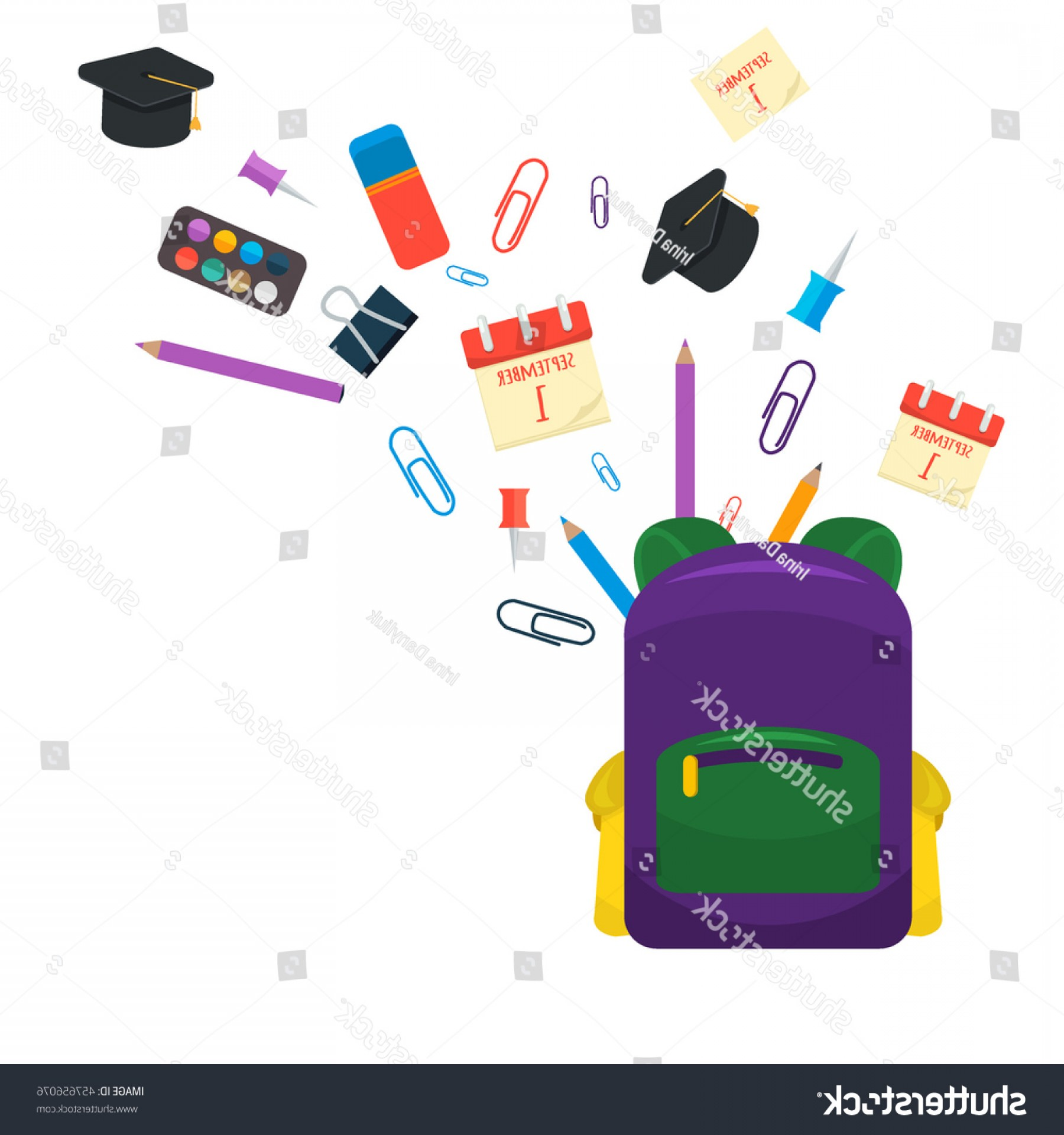 Individual School Supplies Vector: Selection Various Individual School Supplies On
