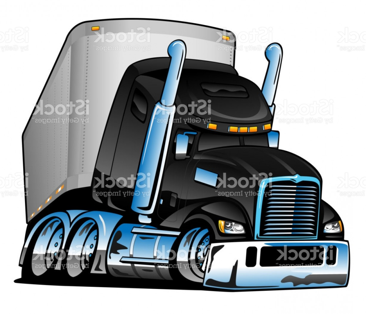 Vector Semi Tanker: Semi Truck With Trailer Cartoon Vector Illustration Gm