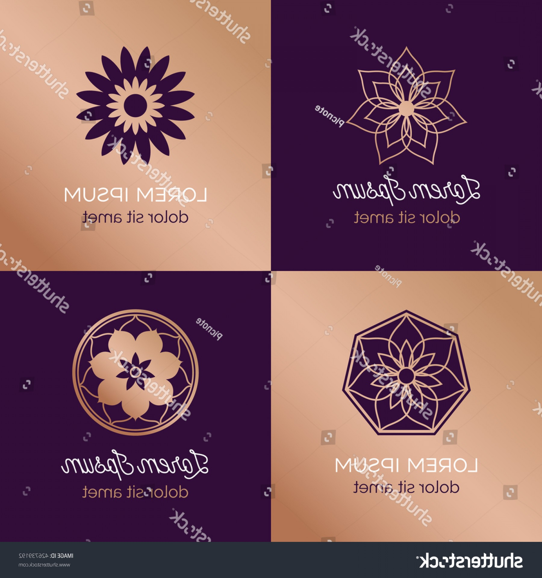 Pepsi Peace Signs Vector: Set Abstract Elegant Flower Vector Sign