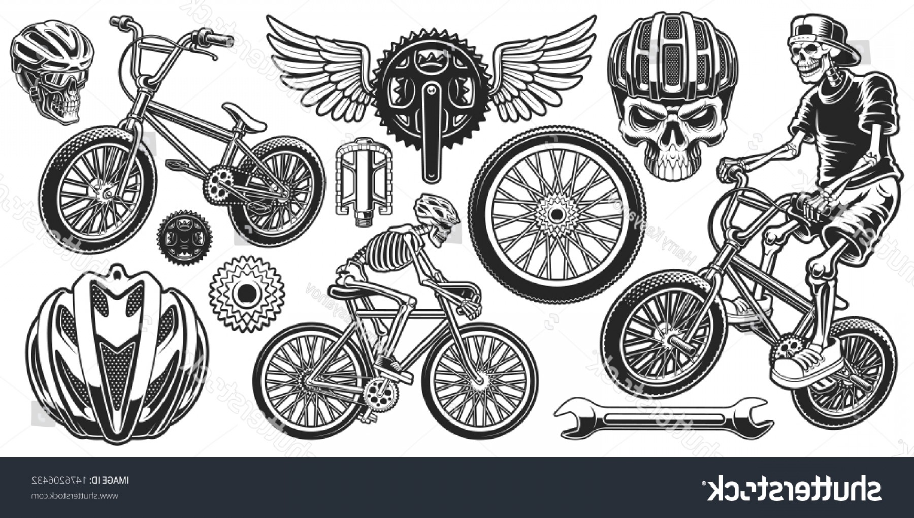 Bicycle Crank Vector Of Artwork: Set Black White Design Elements Bicycle