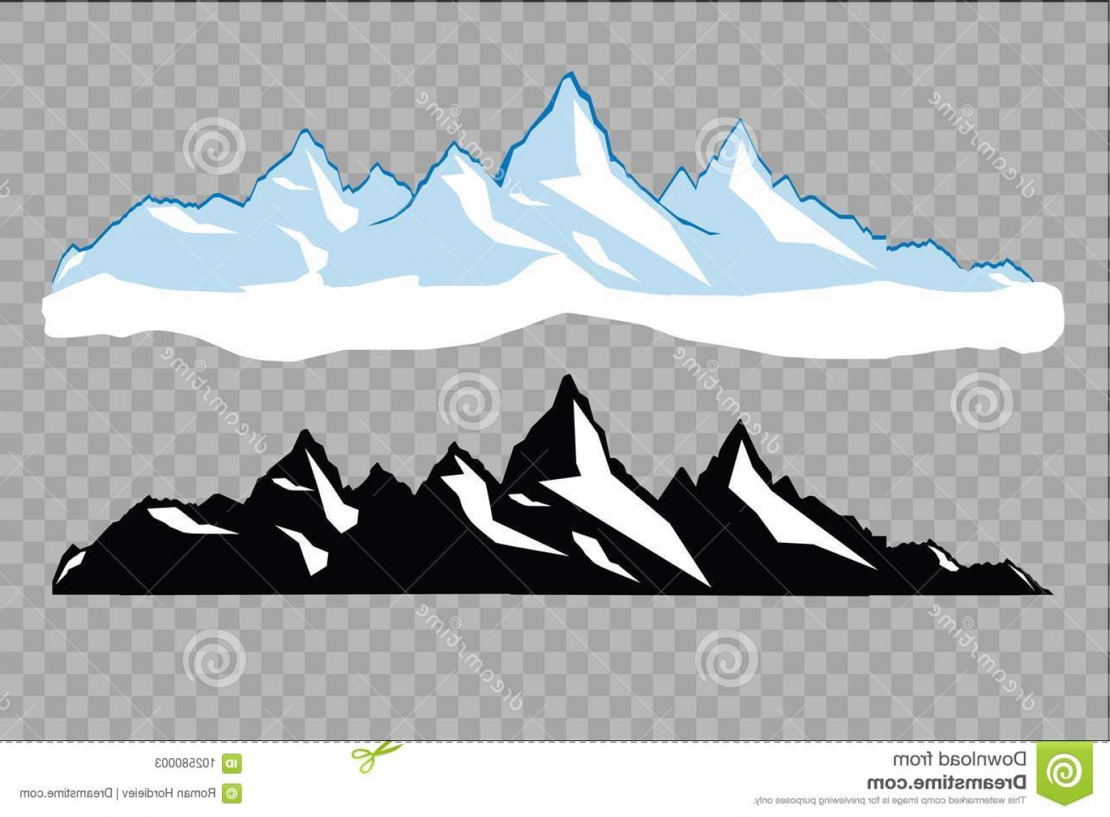 White Mountain Silhouette Vector Free: Set Black White Mountain Silhouettes Background Border Rocky Mountains Vector Illustration Image