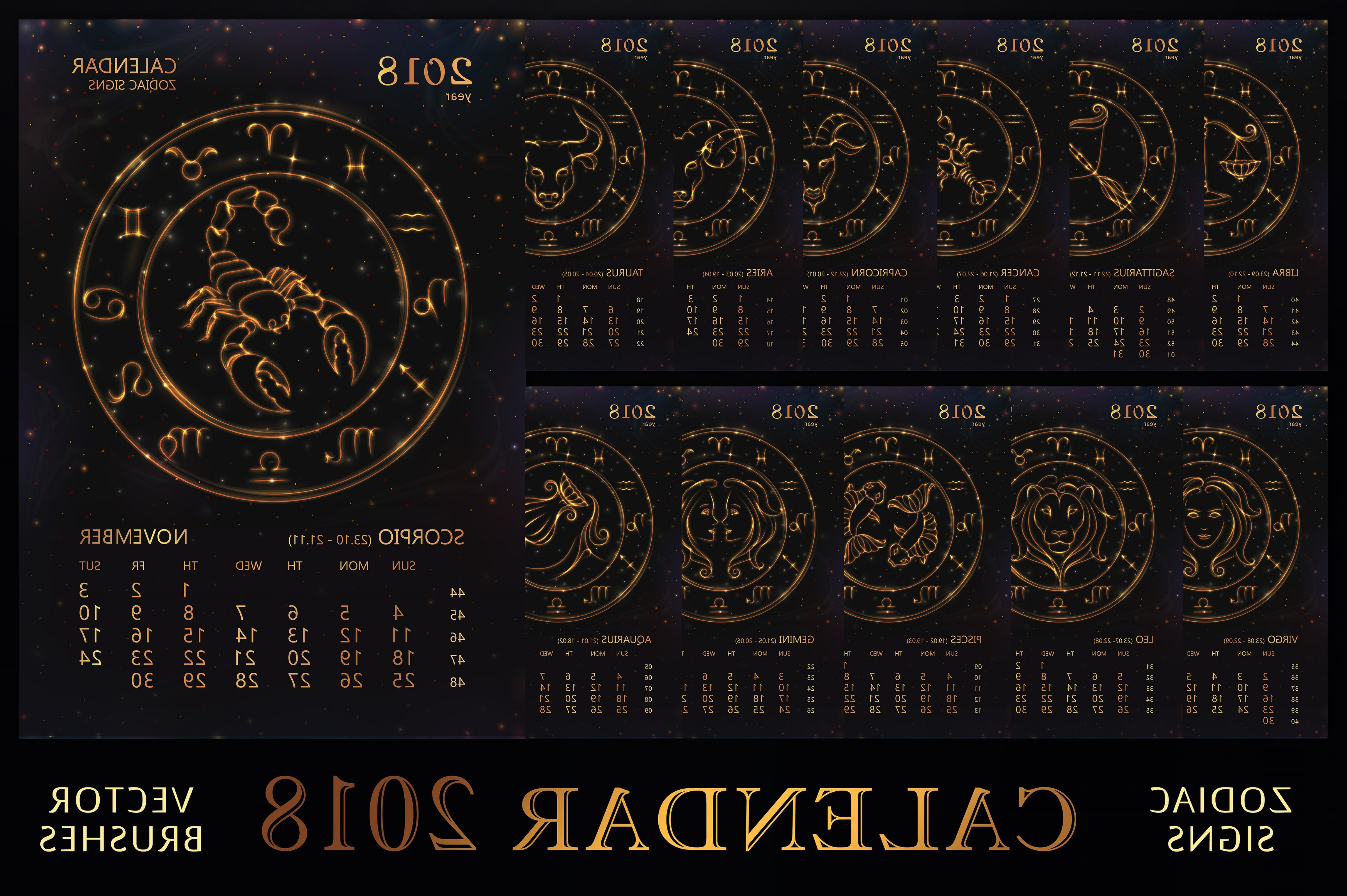 October Zodiac Constellation Vector: Set Calendar Golden Zodiacs