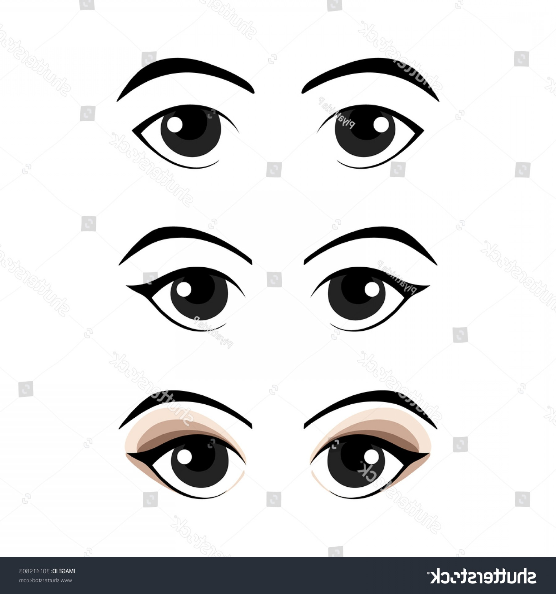 Green Cartoon Eyes Vector Png: Set Cartoon Eyes Vector Illustration