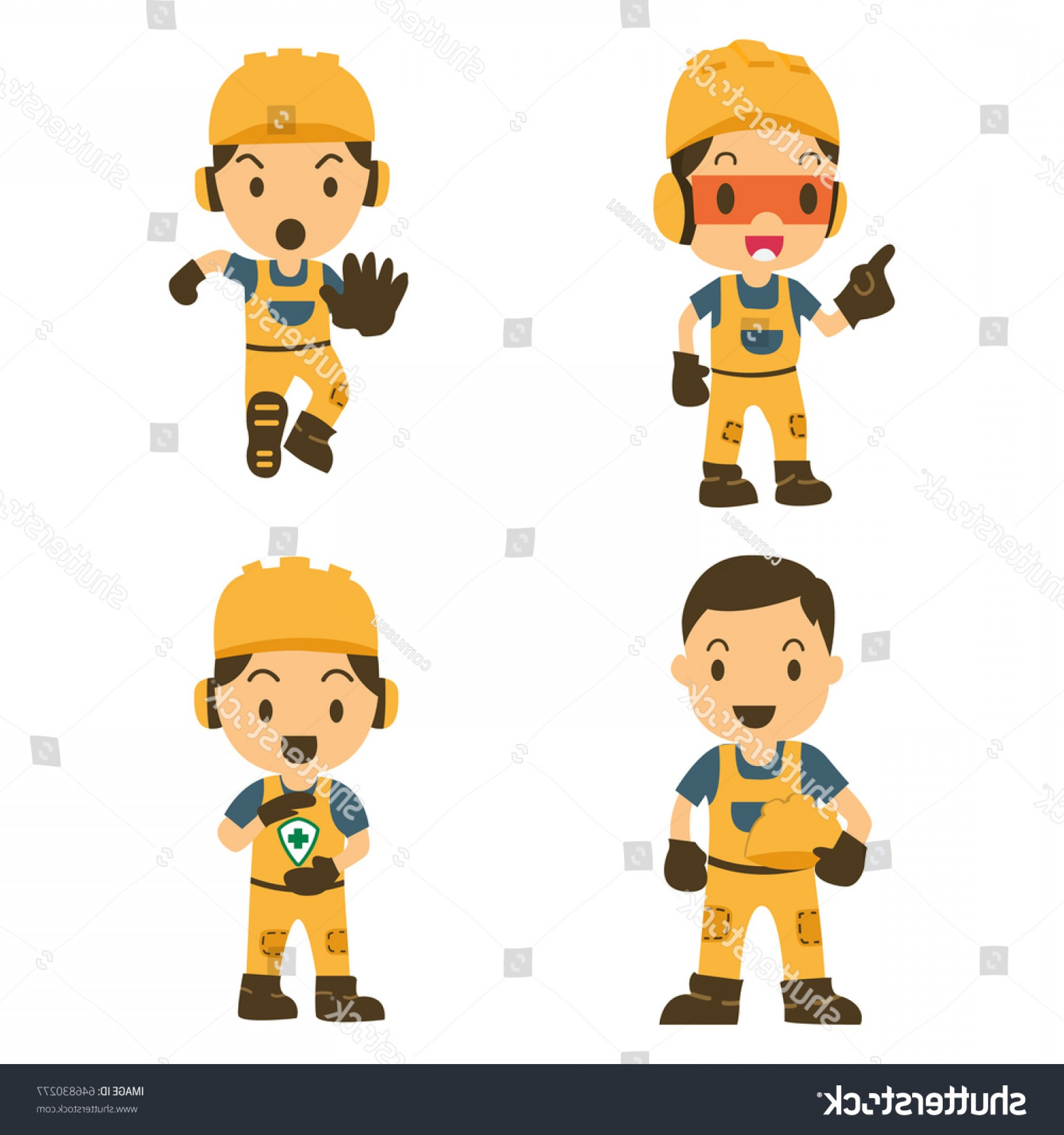 Vector Constructor: Set Character Worker Various Situations Vector