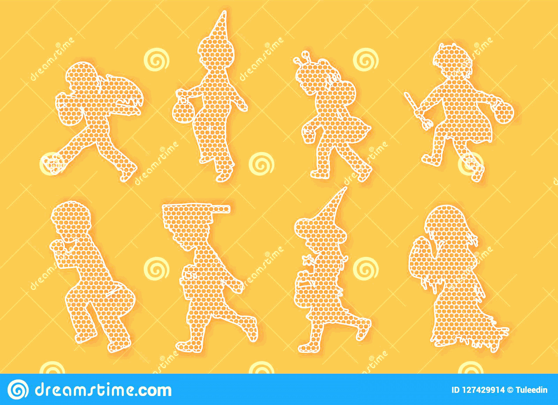 Football Laces Vector Silhouette: Set Children Vector Running Halloween Nightlace Set Children Lace Vector Running Halloween Night Children Image