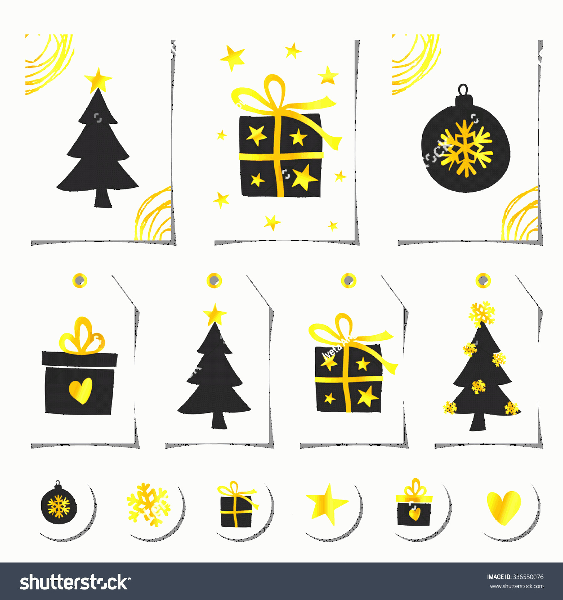 Vector Christmas Toppers: Set Christmas Greeting Cards Gift Tags