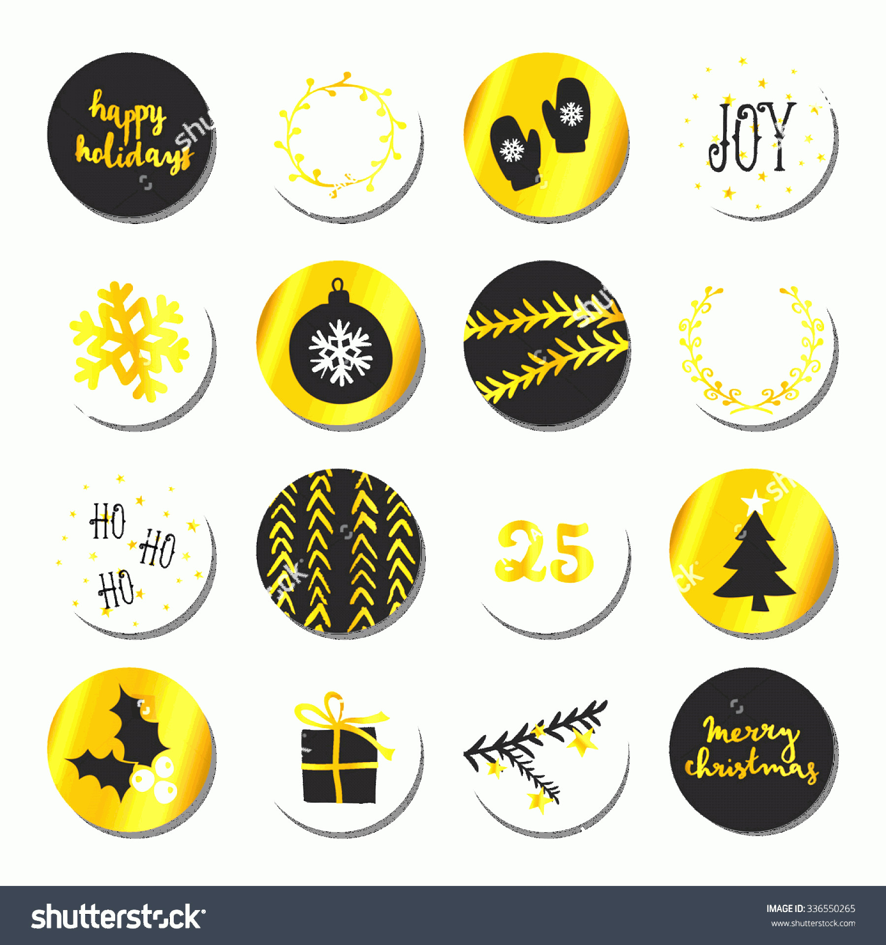 Vector Christmas Toppers: Set Christmas Round Stickersgift Tagscake Toppers