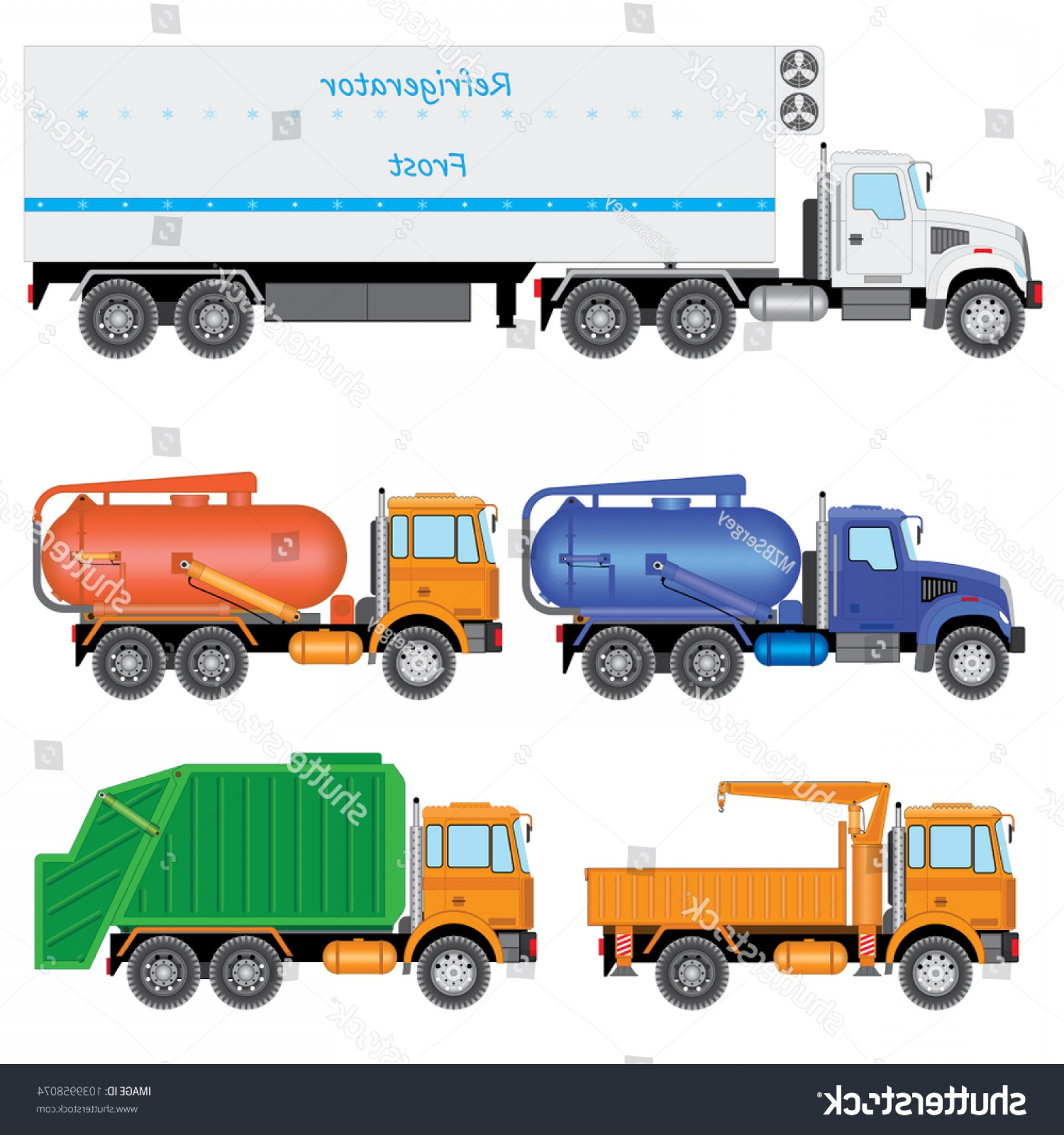 Vector Vacuum Trailer: Set Color Truck Car Carrier Tractor