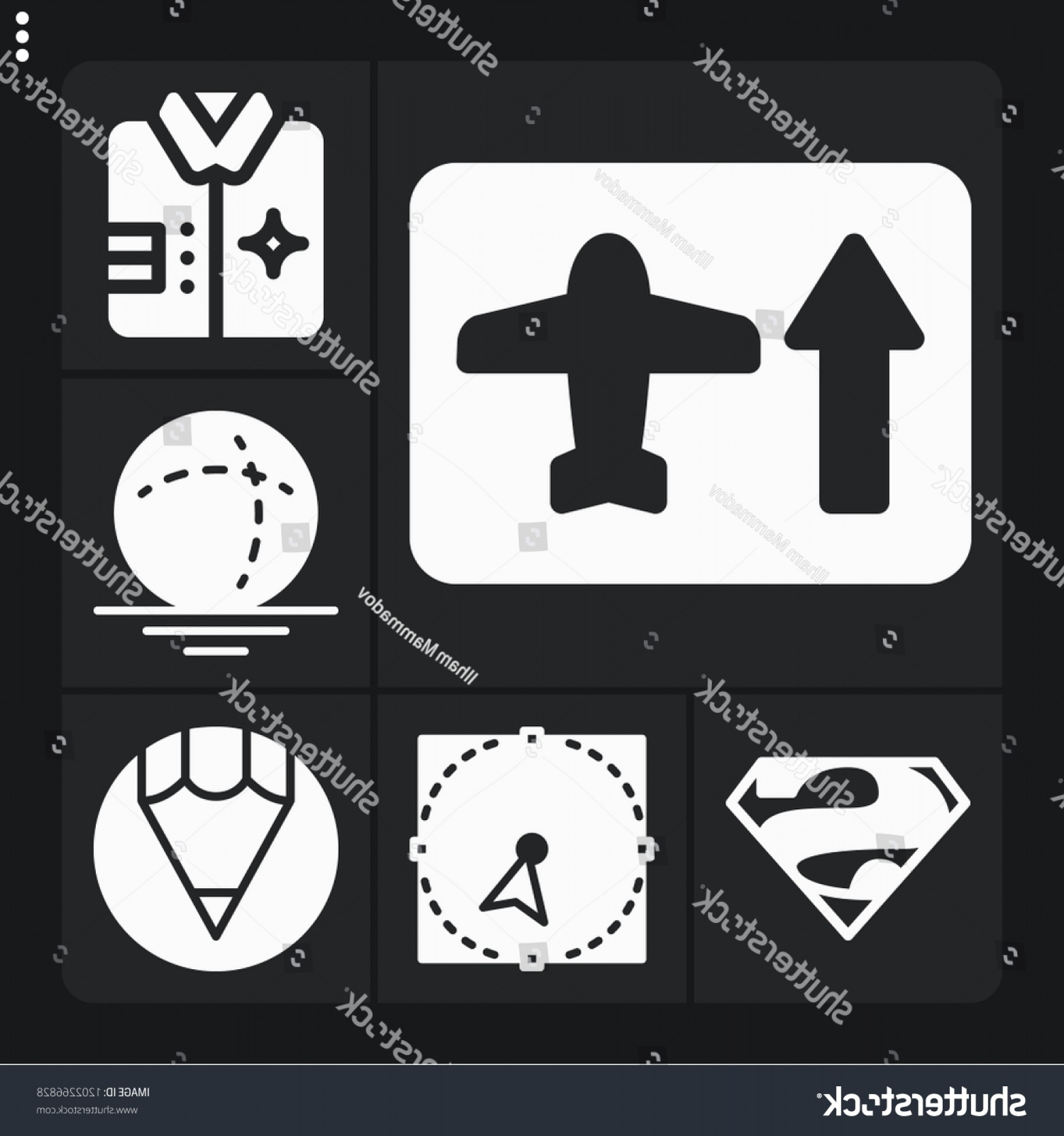 Superman Black And White Vector: Set Concept Filled Icons Such