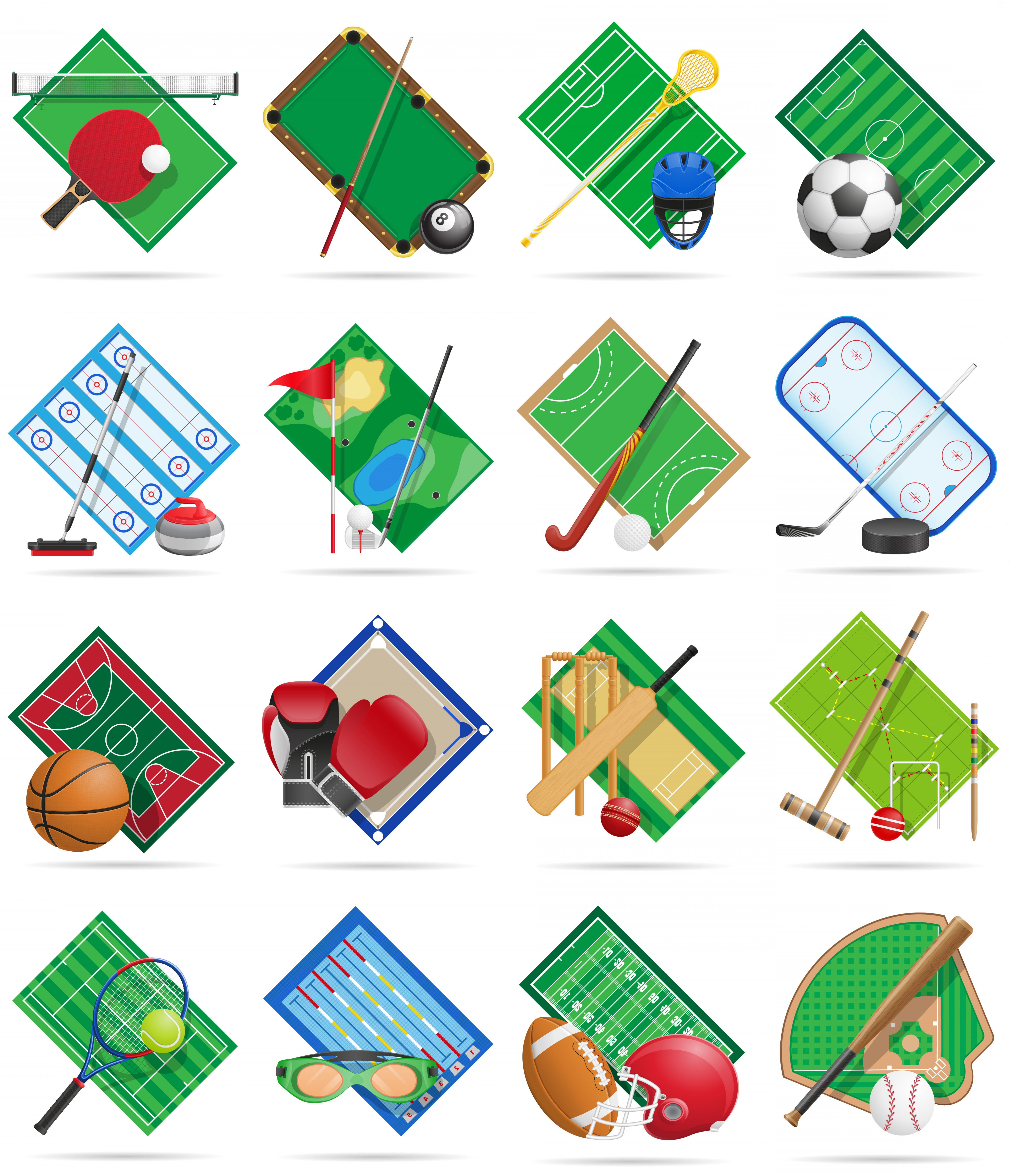 Sport Vector Art Games: Set Court Playground Stadium And Field For Sports Games Flat Icons Vector Illustration