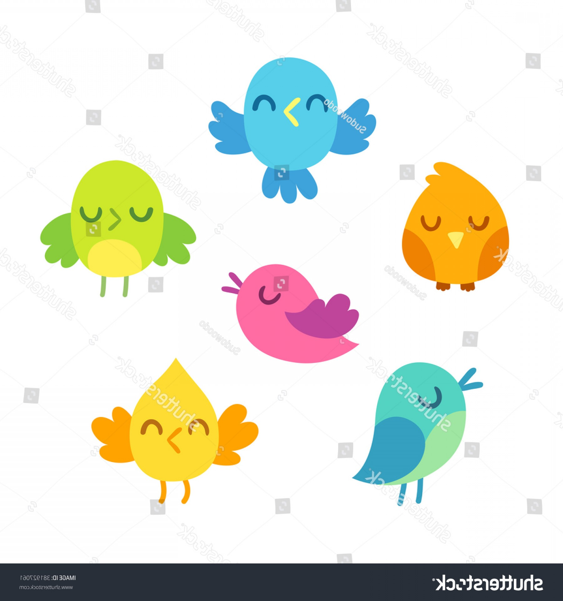 Cute Design Elements Vector Set: Set Cute Bright Cartoon Bird Doodles