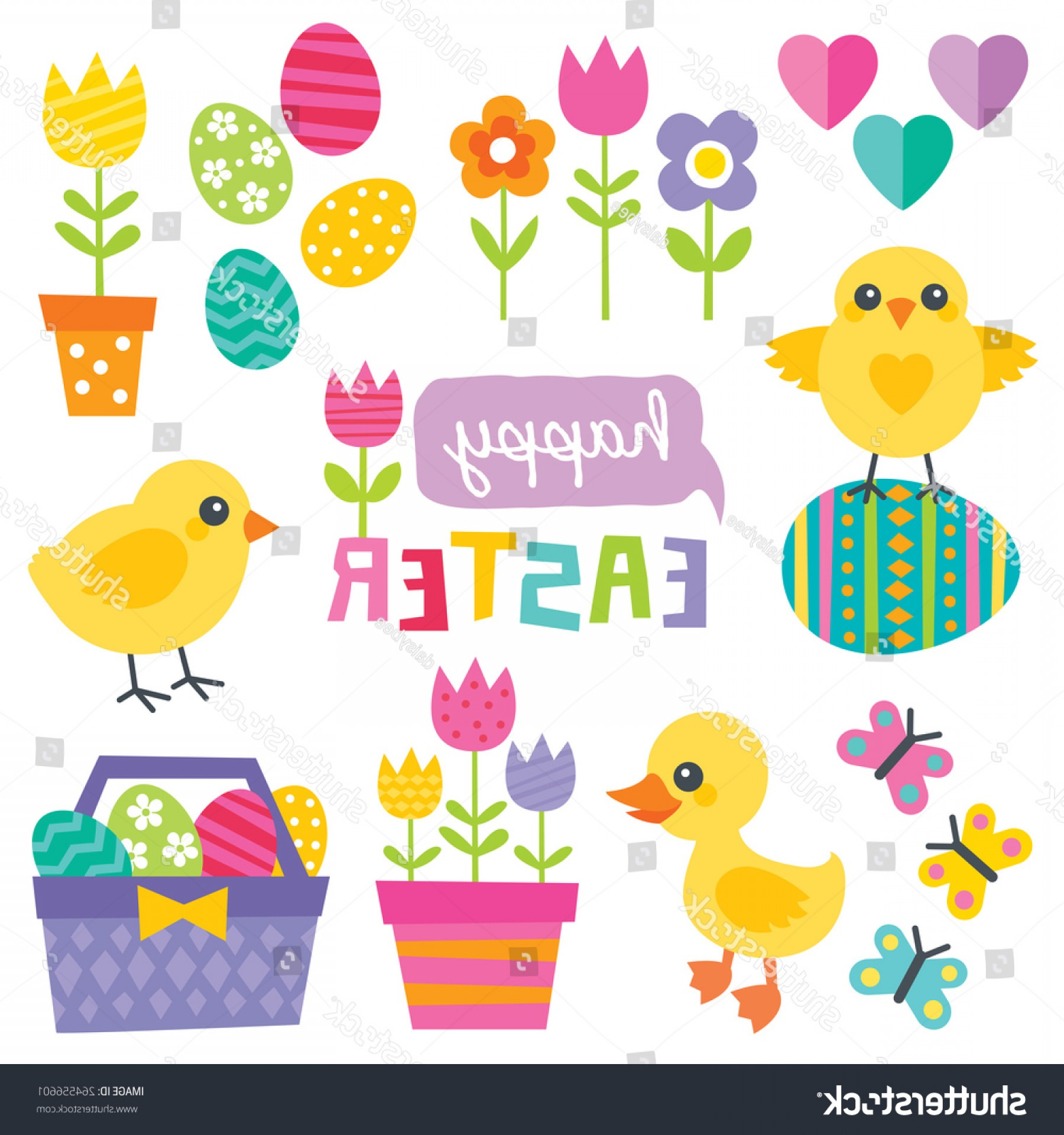 Cute Design Elements Vector Set: Set Cute Design Elements Spring Easter