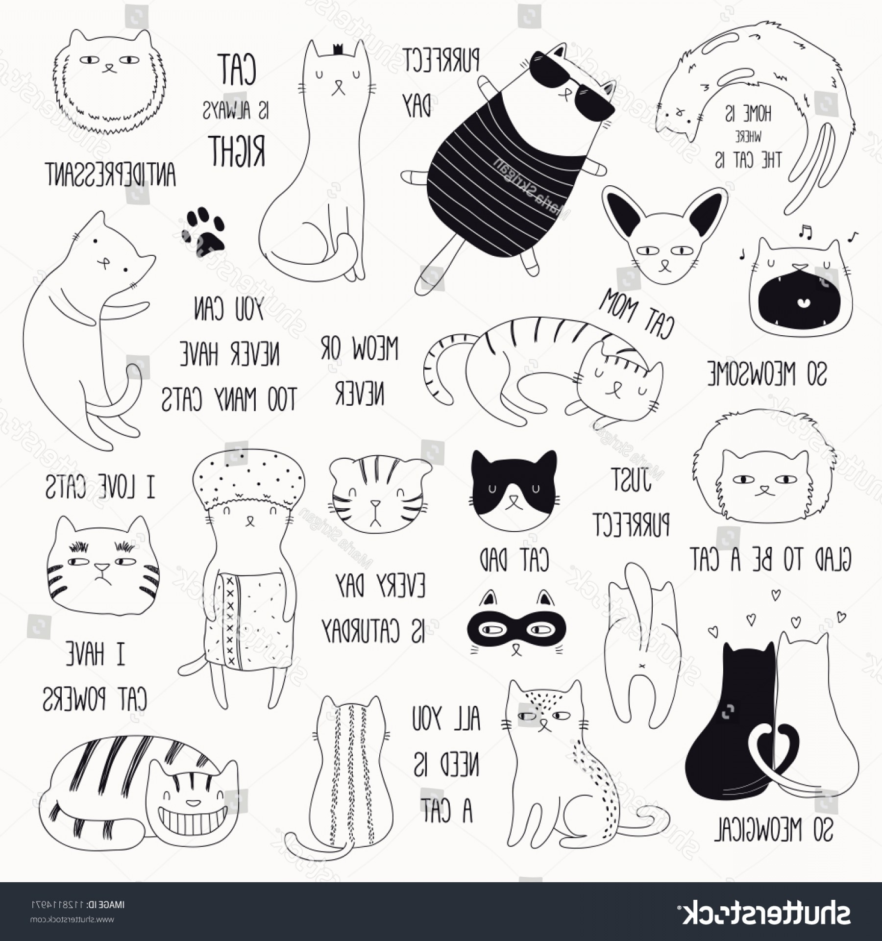 Funny Black And White Vector: Set Cute Funny Black White Doodles