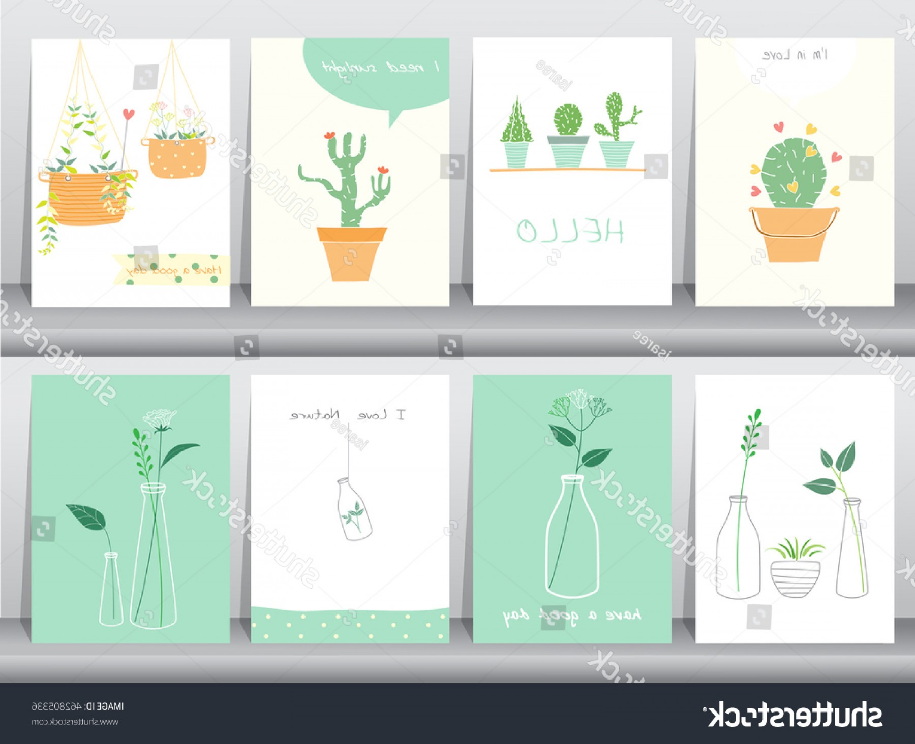 Plant Cards Vector: Set Cute Grow Plants Postertemplategreeting Cardsvector