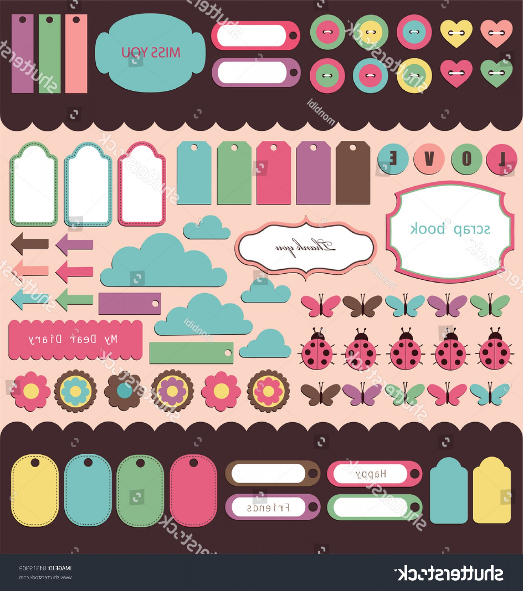 Cute Design Elements Vector Set: Set Cute Scrapbook Elements Vector Illustration