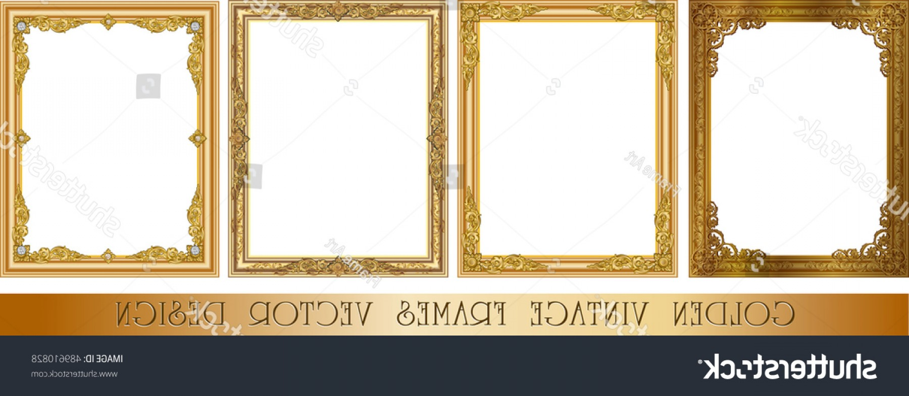 Square Gold Frame Vector PNG: Set Decorative Vintage Frames Borders Setgold