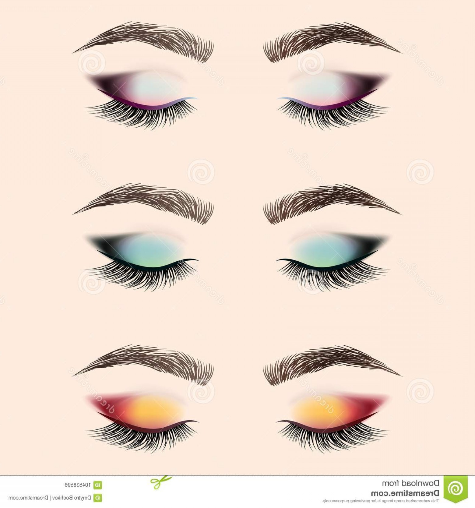 Vector Illustration Eyes Makeup: Set Eye Makeup Closed Eye Long Eyelashes Eyebrows Set Eye Makeup Closed Eye Long Eyelashes Eyebrows Vector Image