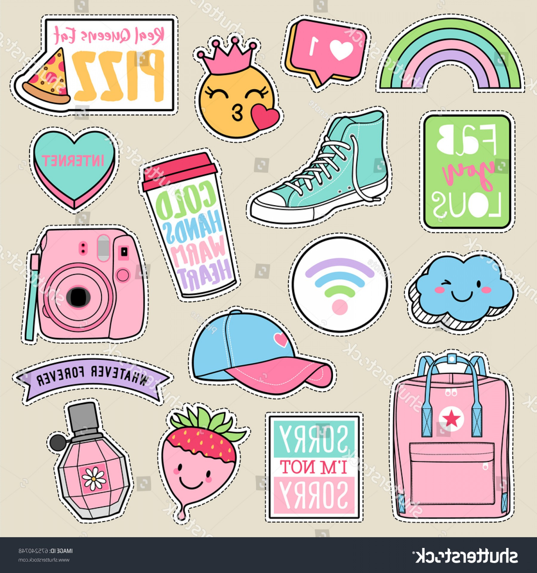 Teenage Icons Vector: Set Fashion Teenage Girls Patches Cute