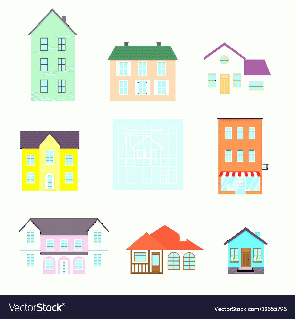 Flat Vector House: Set Flat House Icons Family House Icon Isolated Vector