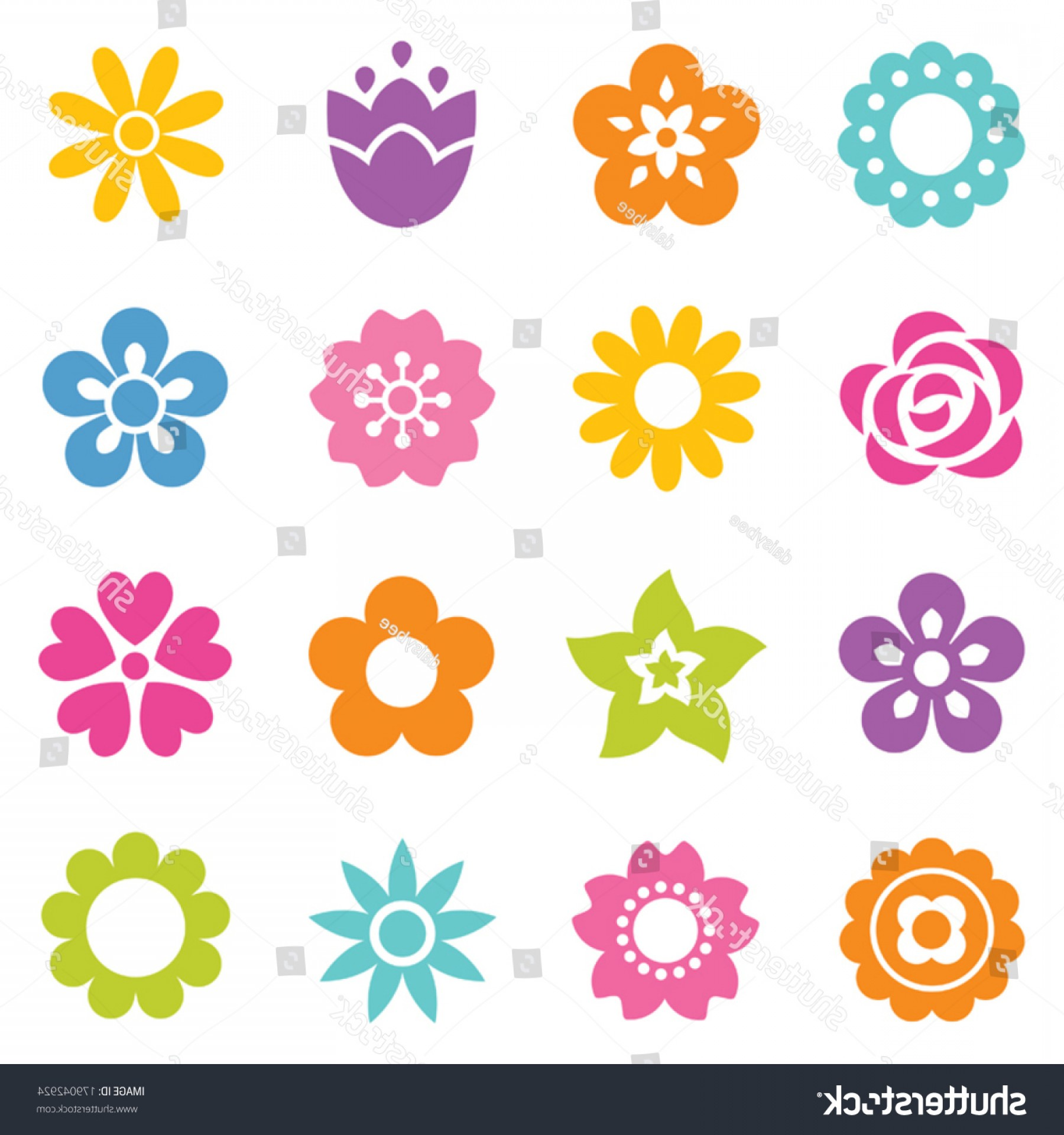 Icon Of Flower Vectors: Set Flat Icon Flower Icons Silhouette