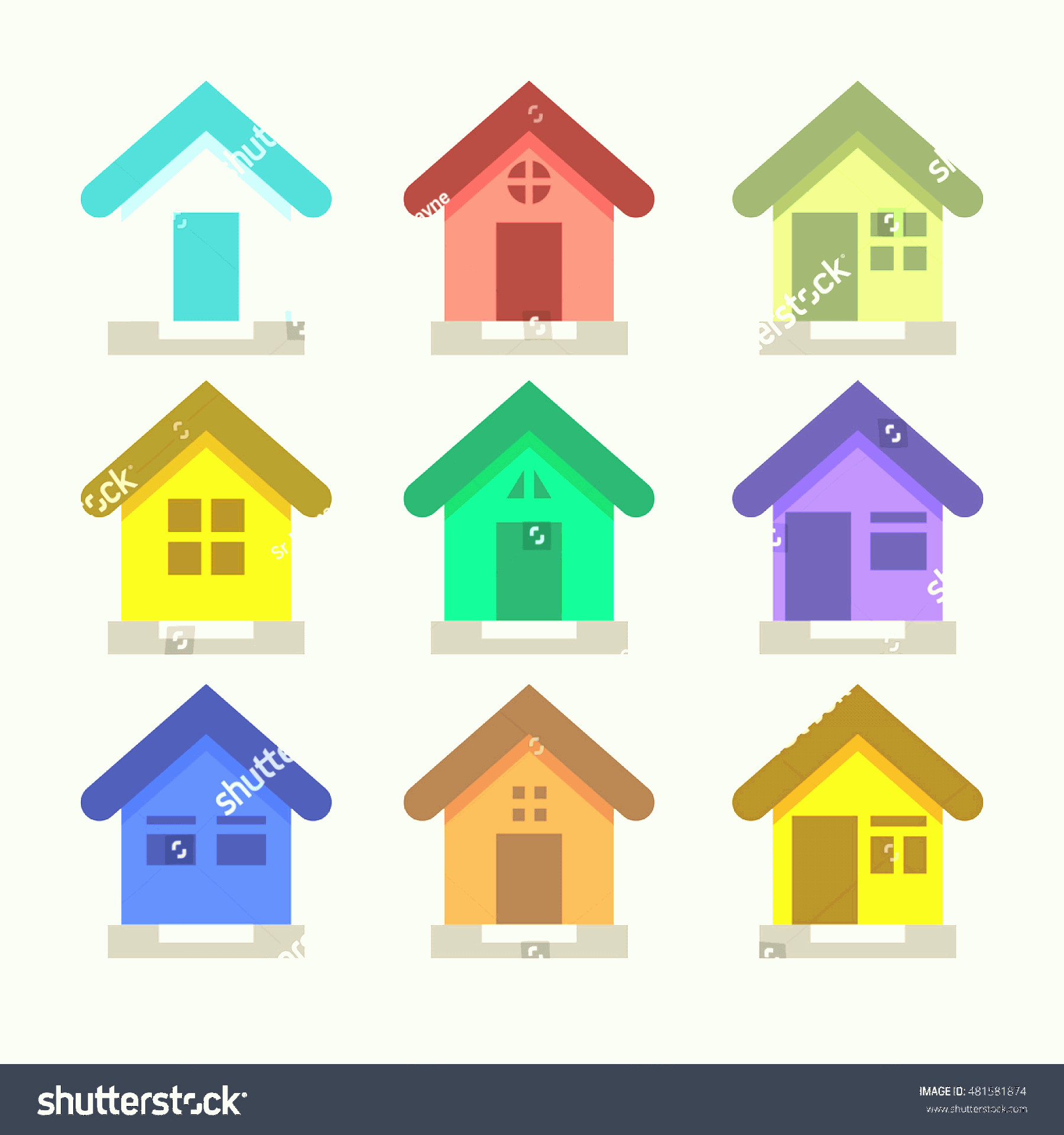 Flat Vector House: Set Flat Vector Houses House Logo