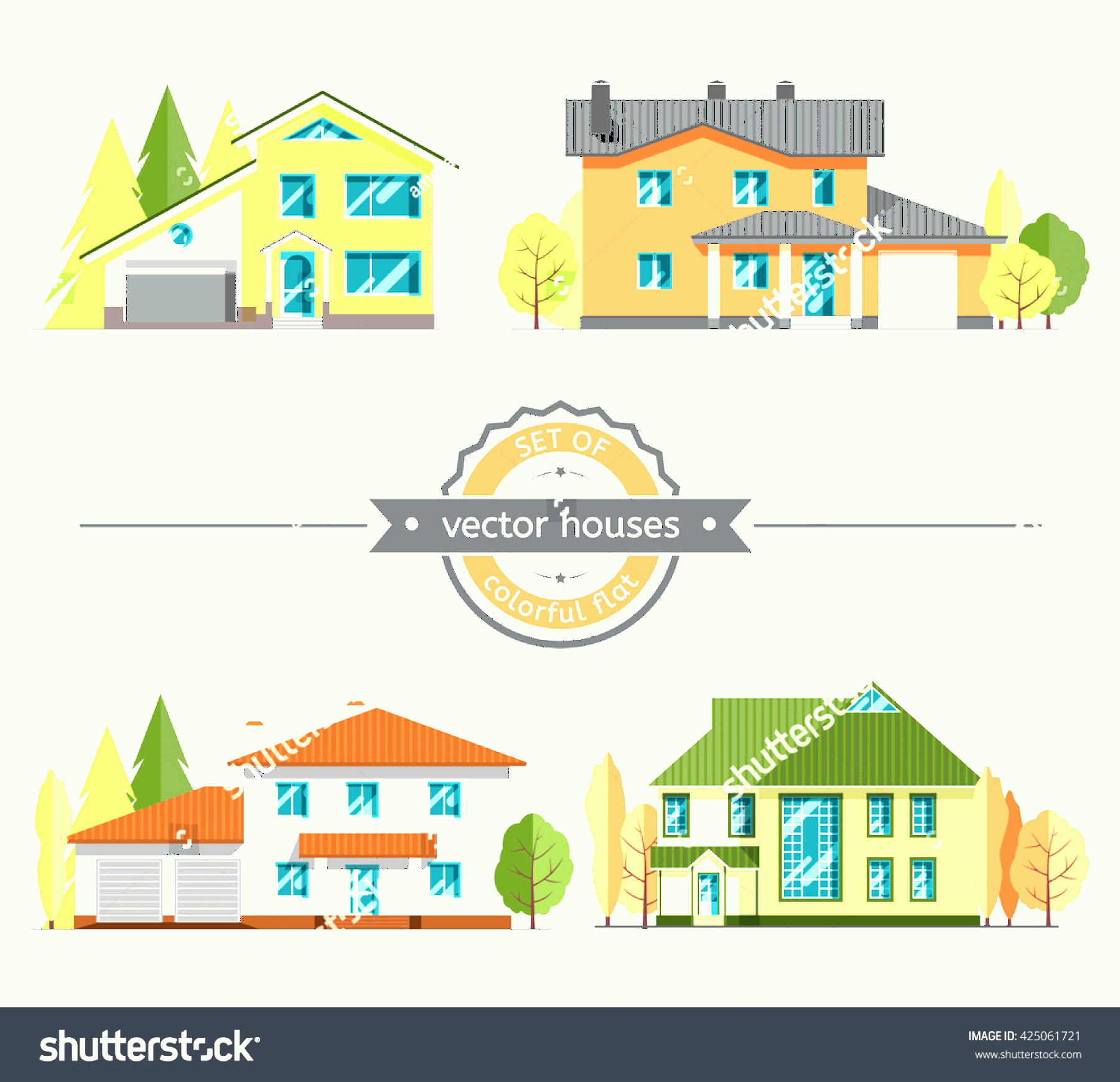 Flat Vector House: Set Flat Vector Houses On White