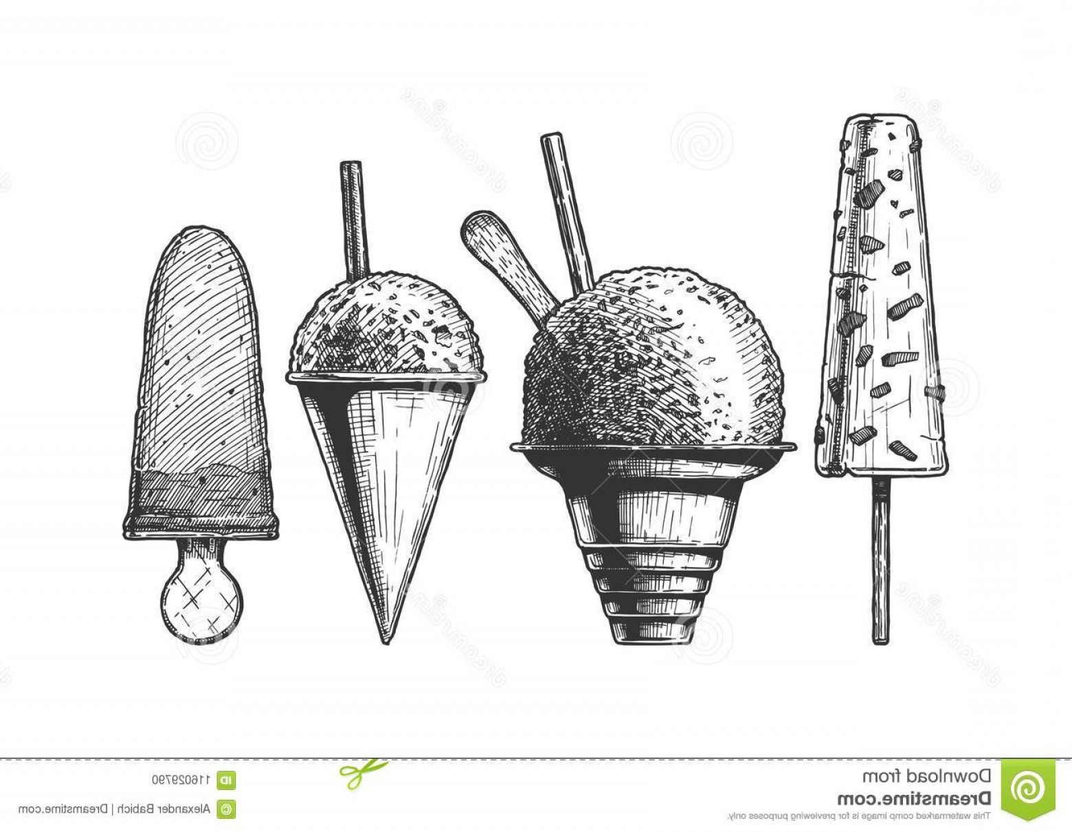 Snow Cone Outline Vector: Set Frozen Dessert Ice Based Kulfi Shaved Snow Cones Cream Vector Hand Drawn Illustration Vintage Engraved Style Image