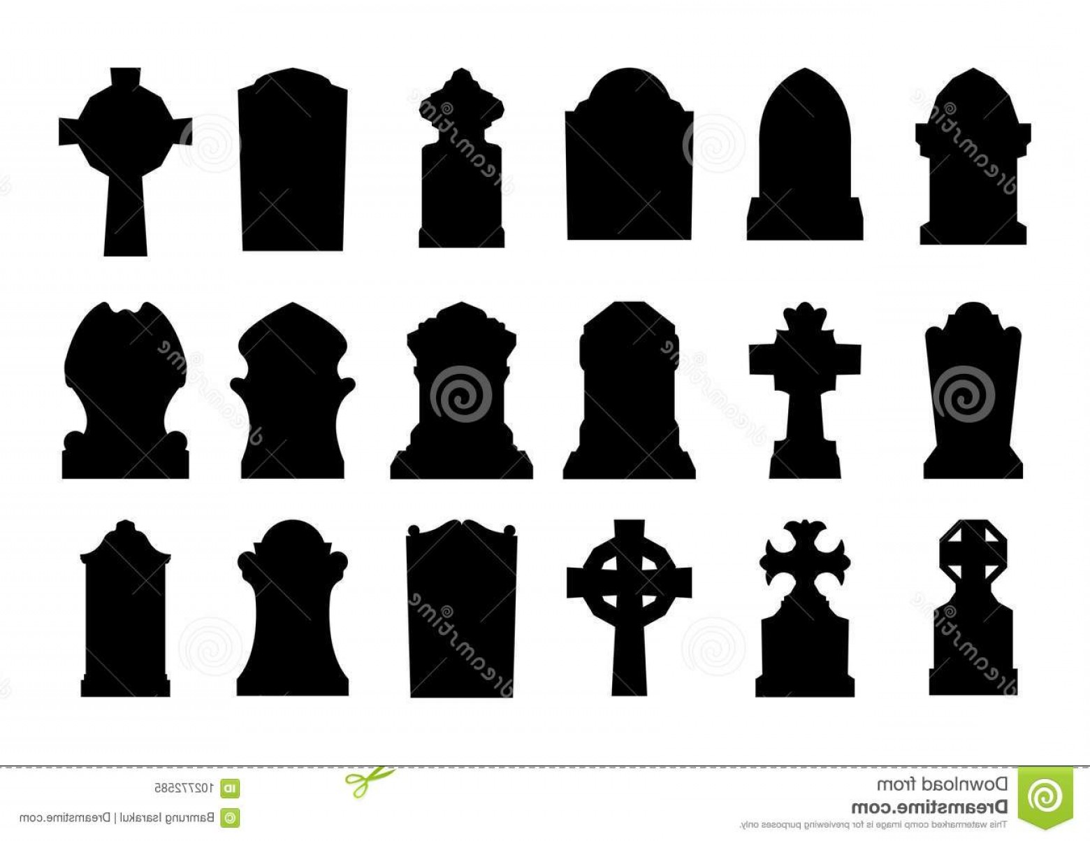 Gravestone Outline Vector: Set Gravestone Silhouette Gravestone Silhouette White Background Image