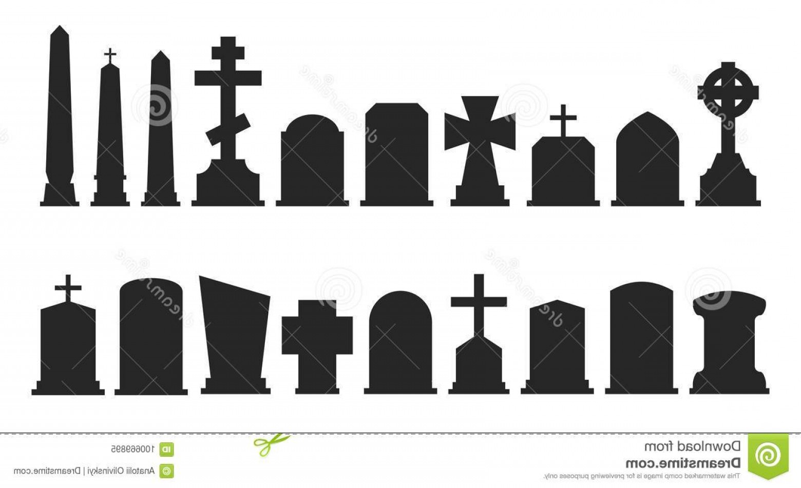 Gravestone Black And Whit Vector JPEG: Set Gravestone Silhouettes Isolated White Background Vector Illustration Image