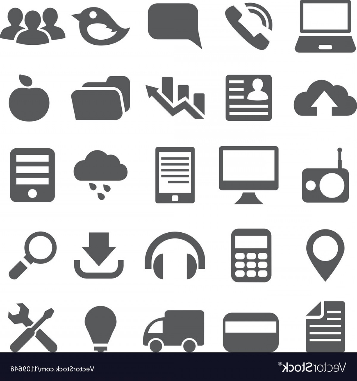 Vector Icons For Designers: Set Gray Simple Icons For Web Design Vector