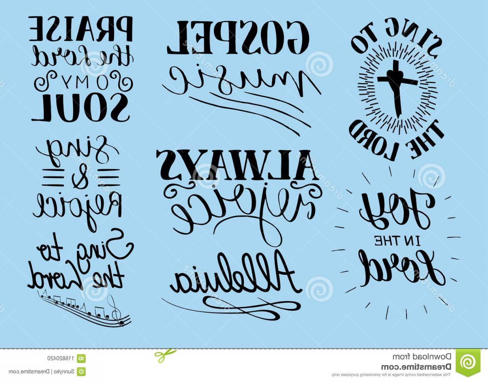 Gospel Music Background Vector: Set Hand Lettering Christian Quotes Sing To Lord Alleluia Rejoice Praise O My Soul Gospel Music Worship Collection Image
