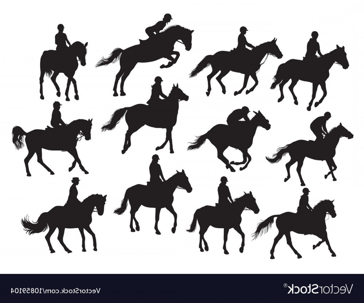 Horse And Rider Vector Art: Set Horse Rider Silhouettes Vector