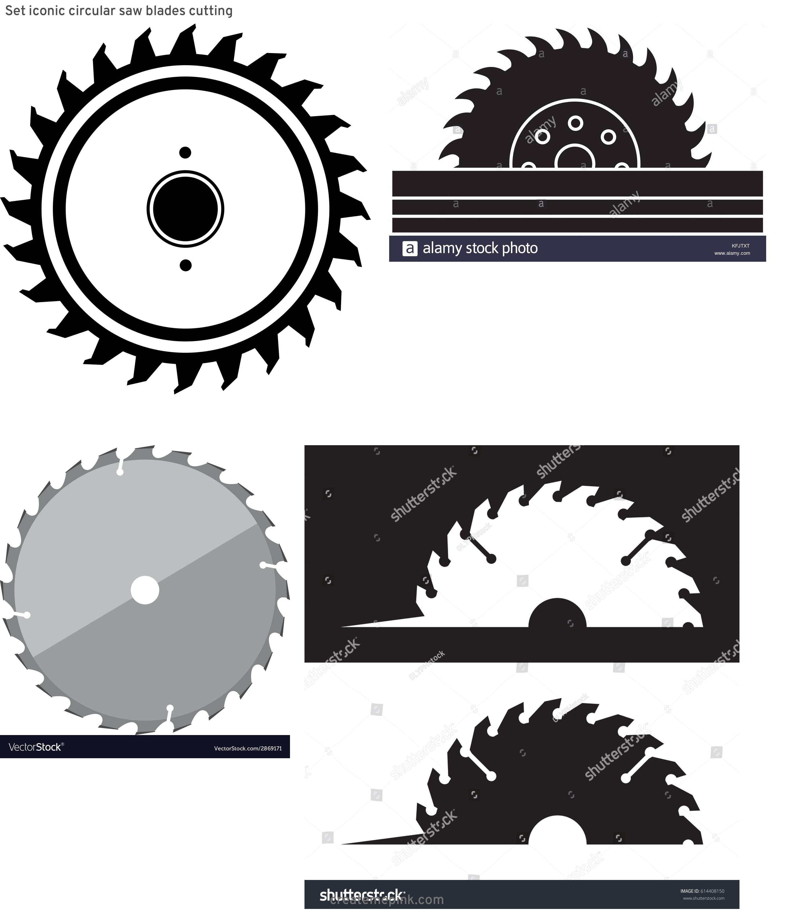 Round Saw Blade Vector: Set Iconic Circular Saw Blades Cutting