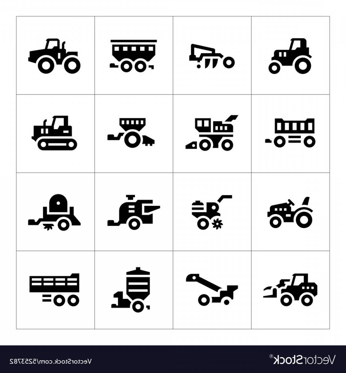 Agriculture Vector Icons: Set Icons Of Agricultural Machinery Vector